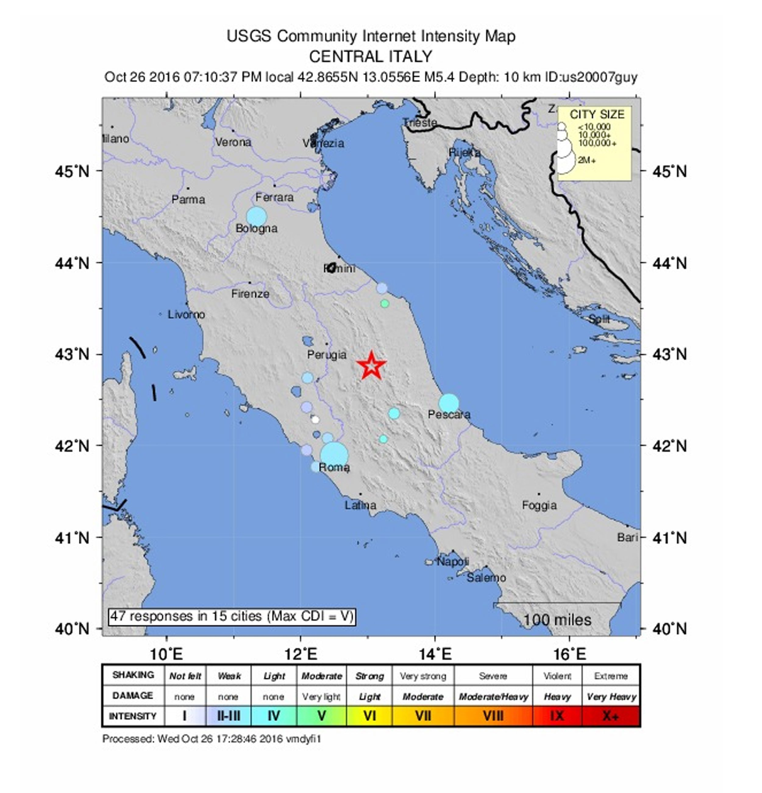 epa05604395 A handout shakemap released by the US Geological Survey (USGS) shows the location of a 5.6 magnitude earthquake striking in Perugia, Italy, 26 October 2016.  EPA/USGS  HANDOUT EDITORIAL USE ONLY HANDOUT EDITORIAL USE ONLY  Dostawca: PAP/EPA.