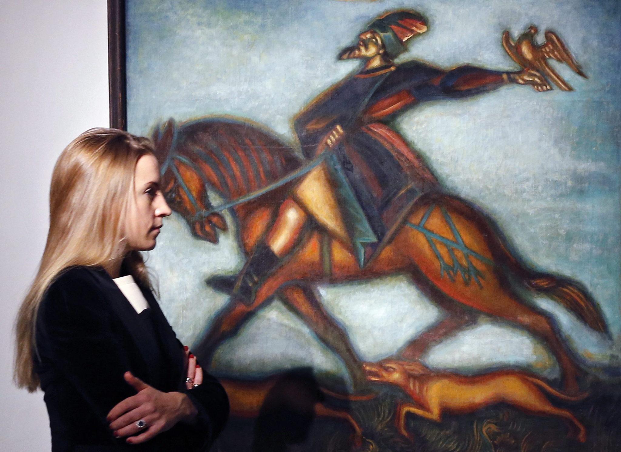 Rosja: aukcja rosyjskich dzieł sztuki w Moskwie. Na zdjęciu obraz Dimitri'ego Stelletsky (foto. PAP/EPA/YURI KOCHETKOV)