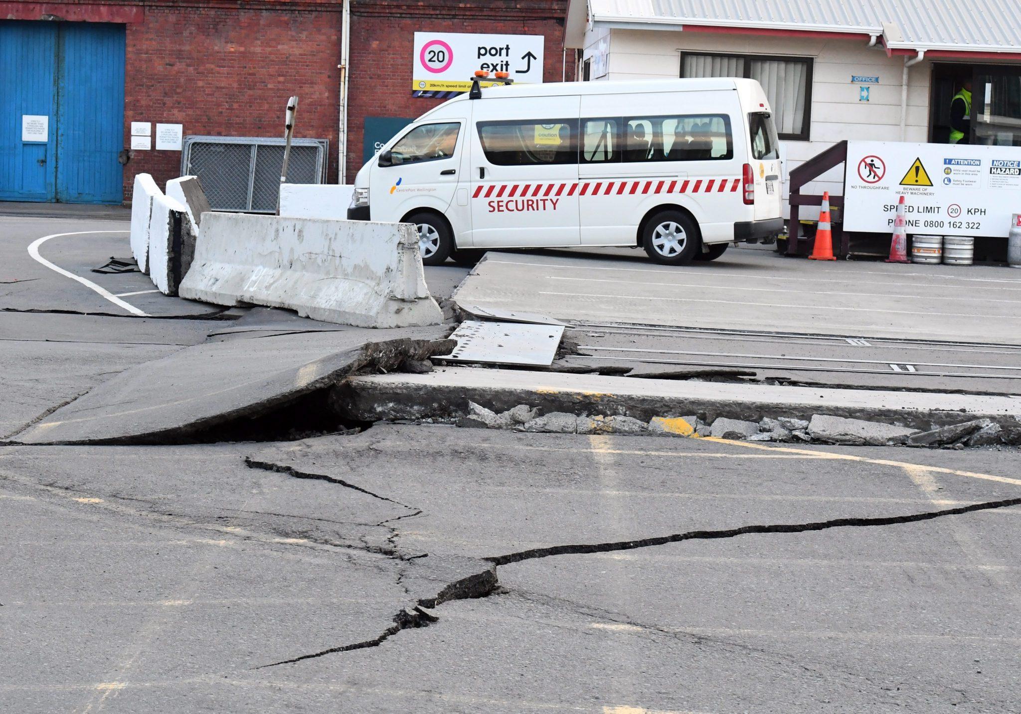 Szkody spowodowane trzęsieniem ziemi o sile 7,5 w skali Richtera. Wellington, Nowa Zelandia.