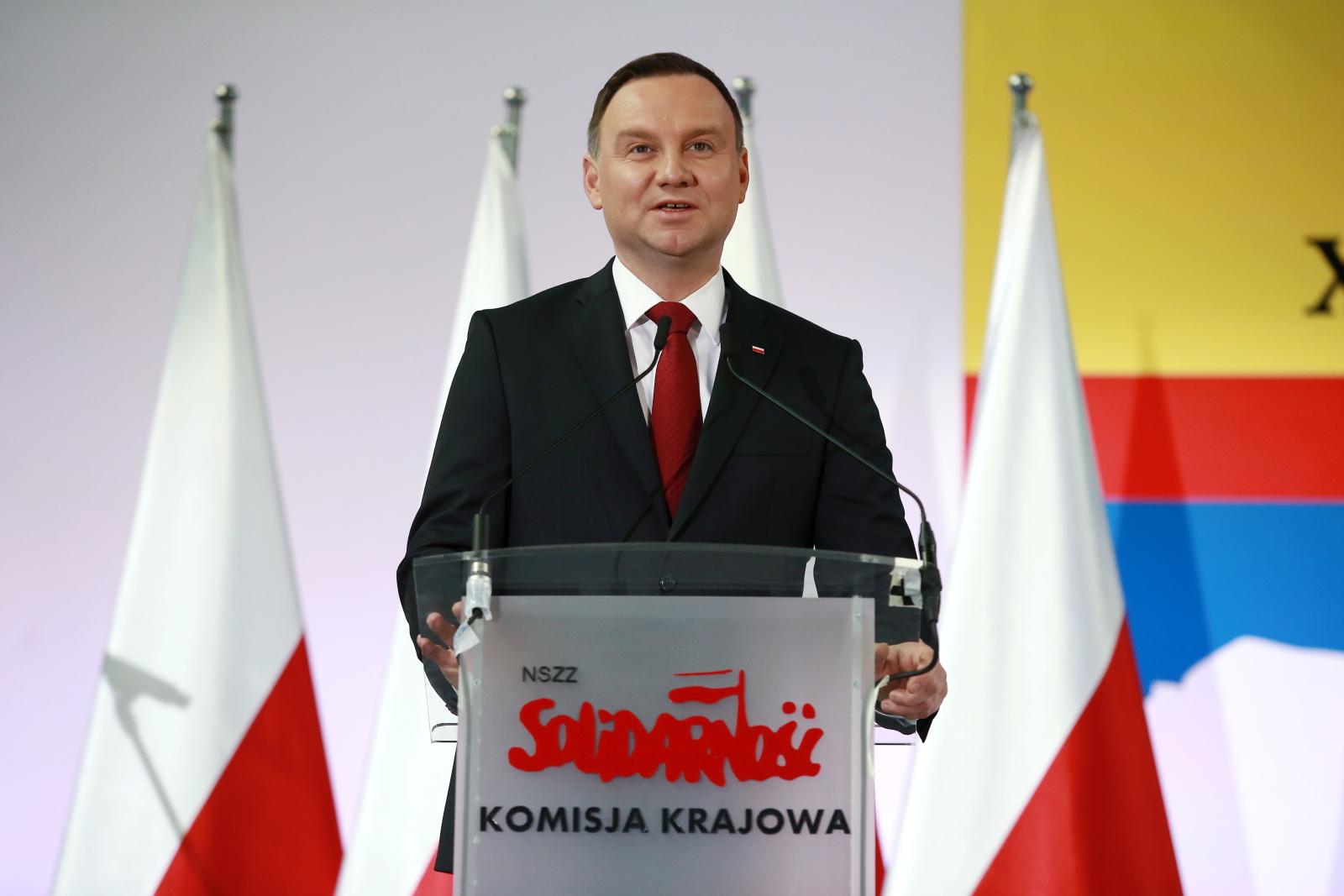 Prezydent Andrzej Duda przemawia podczas XXVIII Krajowego Zjazdu Delegatów NSZZ