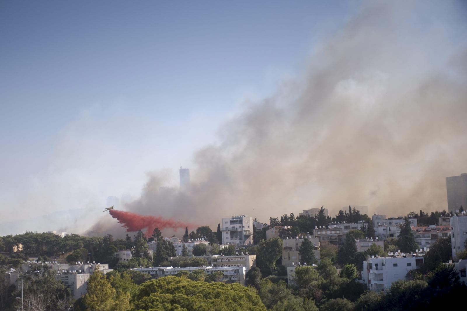 Pożar w jednej z dzielnic miasta Hajfa w Izraelu.  Fot. PAP/EPA/MORAN MAYAN