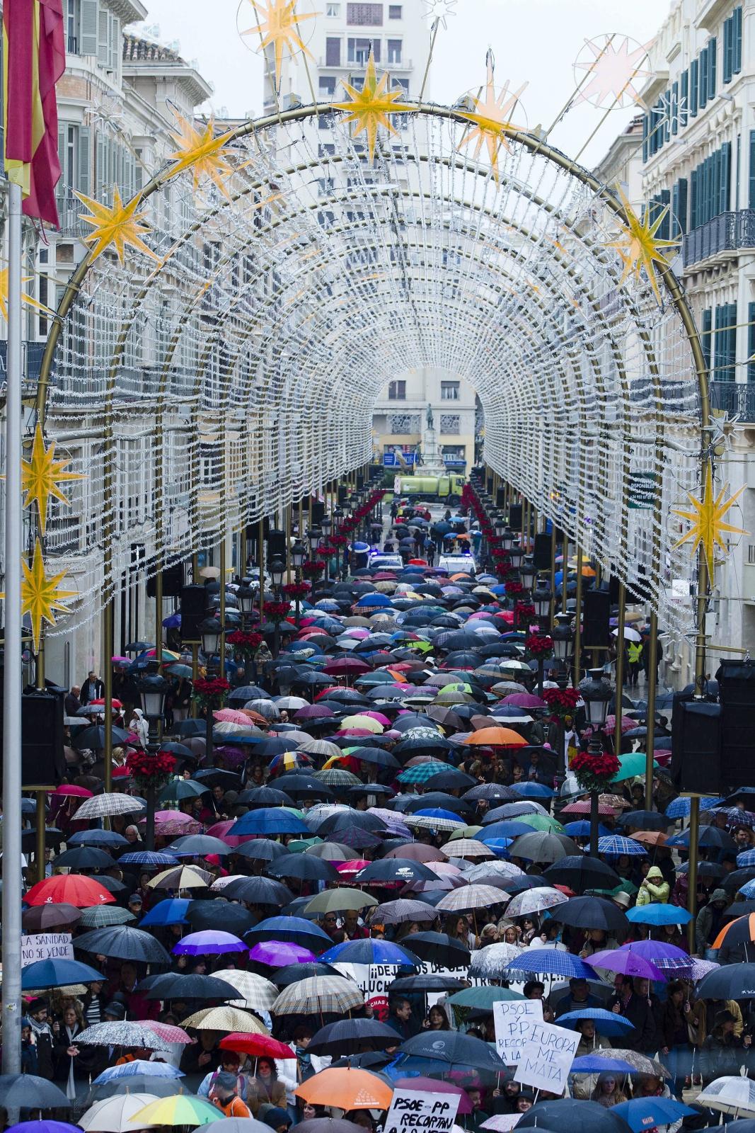 Protest służby zdrowia w Maladze, Hiszpania.