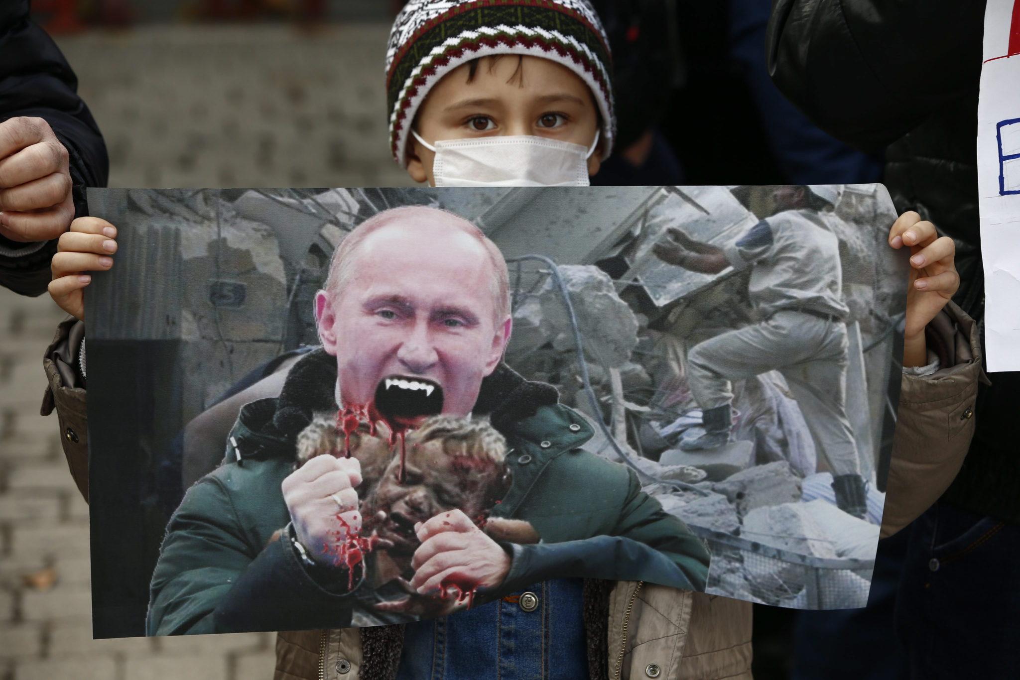 Korea Południowa: protest przeciwko polityce rosyjskiej w Syrii (foto. PAP/EPA/JEON HEON-KYUN)