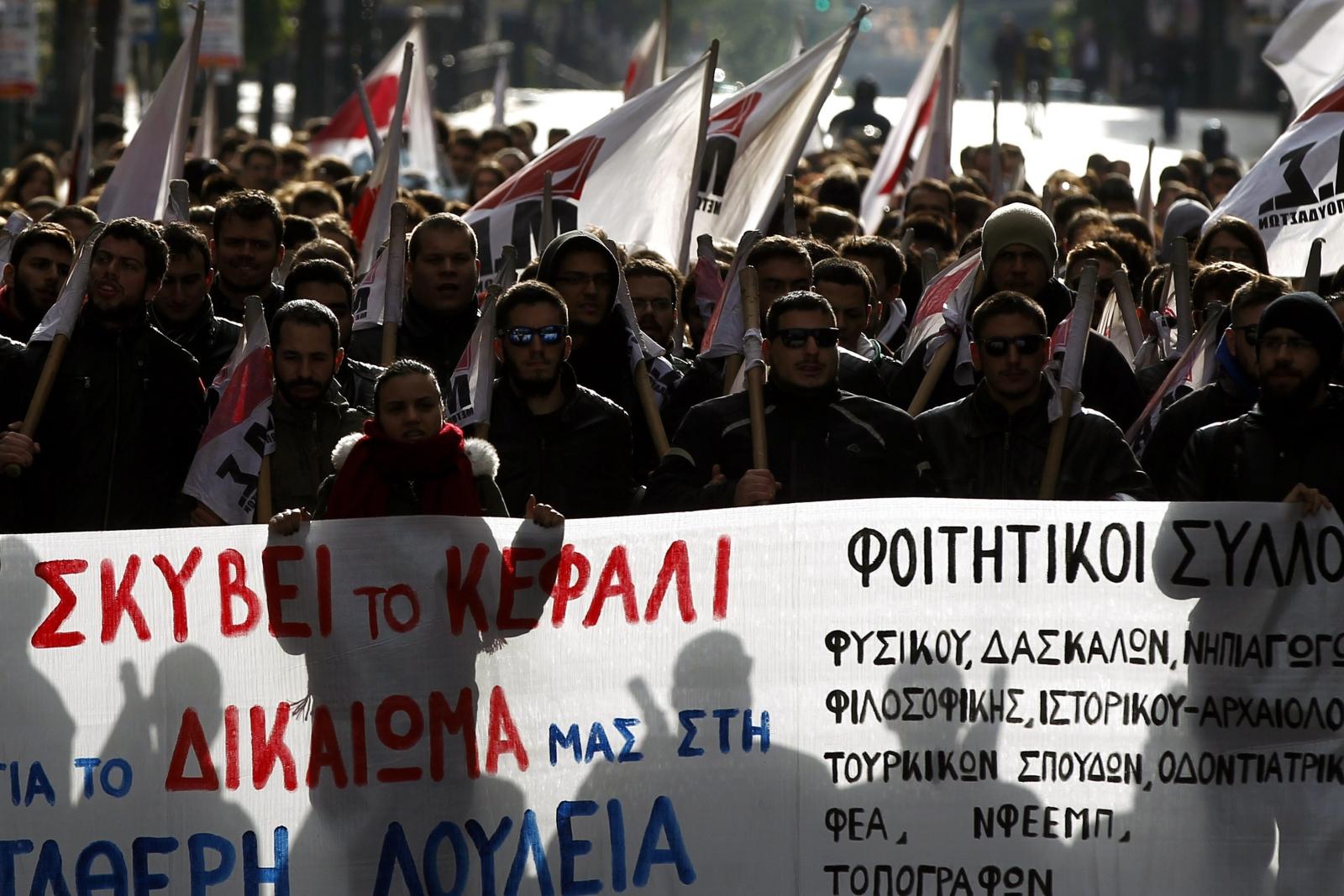 24-godzinny strajk w Grecji przeciwko polityce oszczędnościowej. Fot. PAP/EPA/ALEXANDROS VLACHOS