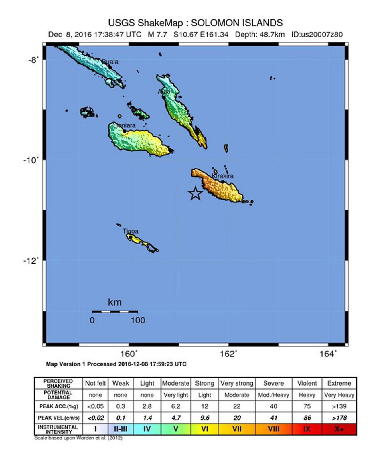 epa05666195 A shakemap released by the US Geological Survey (USGS) on 08 December 2016 shows the epicenter (marked with a star) of a 7.7 magnitude earthquake that was detected off the coast of the Solomon Islands, east of Papua New Guinea, at 17:38:47 UTC on 08 December 2016 in a depth of 48.7 kilometers.  EPA/USGS / HANDOUT  HANDOUT EDITORIAL USE ONLY  Dostawca: PAP/EPA.