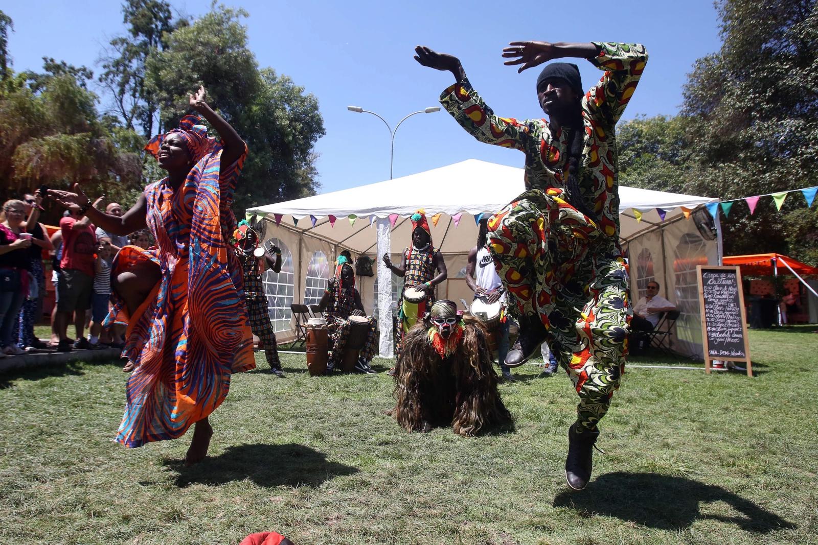 Senegalczycy w trakcie drugiego dnia obchodów Dnia Migranta. Chile.