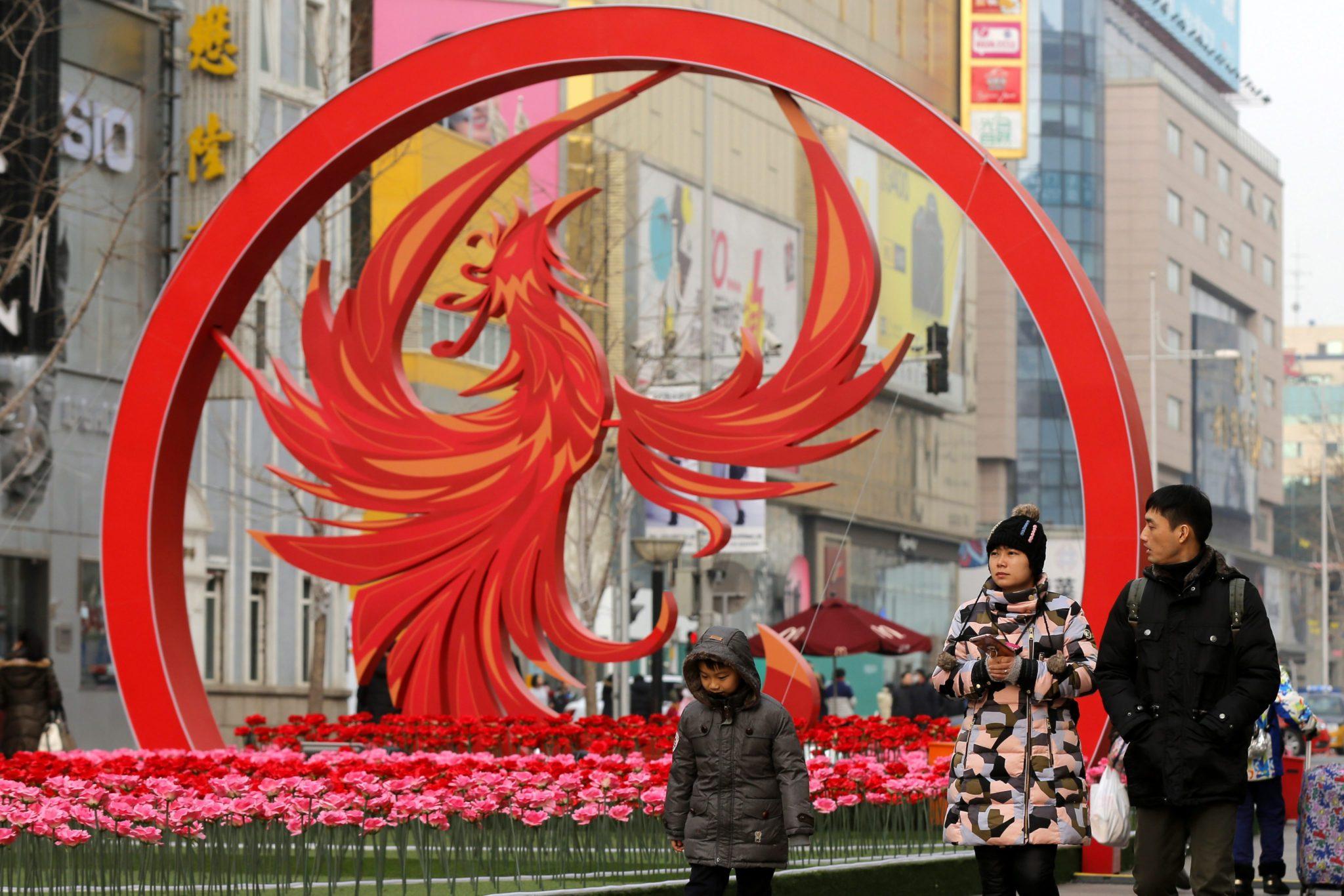 Chony: przygotowania do obchodów Nowego Roku, według kalendarza chińskiego w Pekinie (foto. PAP/ CHINA SPRING FESTIVAL Decorations for upcoming Chinese lunar New Year in Beijing )