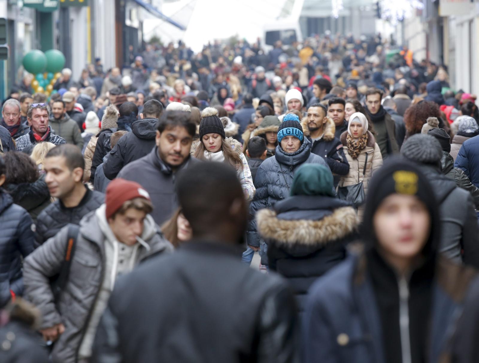 Noworoczne przeceny w Brukseli, Belgia.