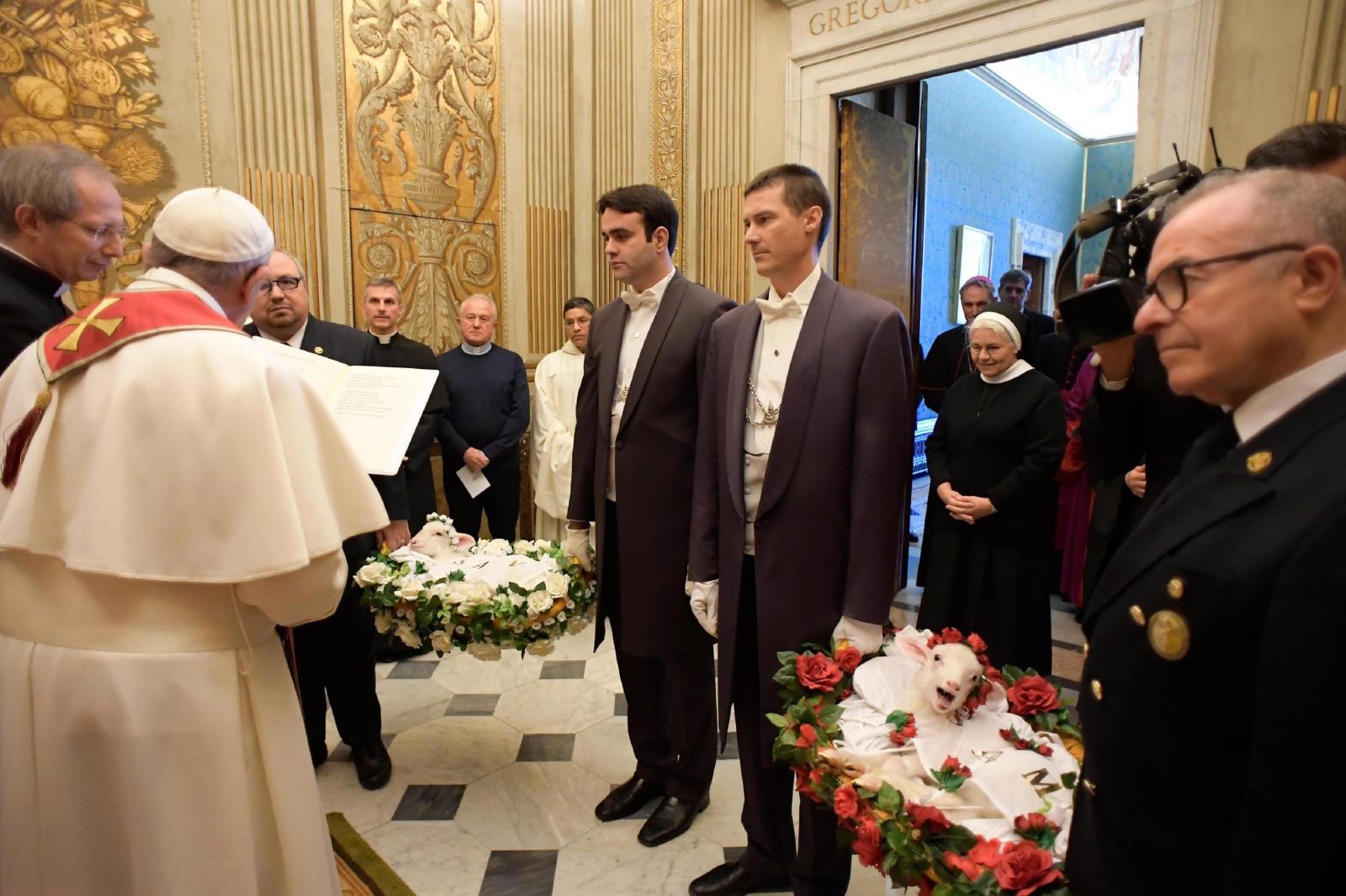 Na święto św. Agnieszki przyniesiono do papieża dwa pobłogosławione baranki. Fot. PAP/EPA/OSSERVATORE ROMANO