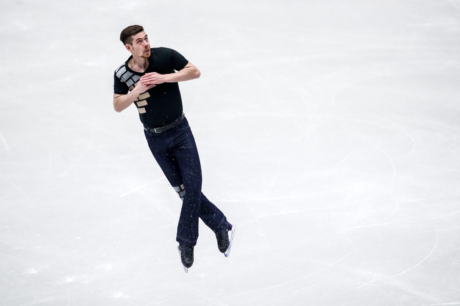 Paul Fentz z Niemiec w czasie występu na Europejskich Mistrzostwach w Jeździe Figurowej w Ostawie, Czechy.