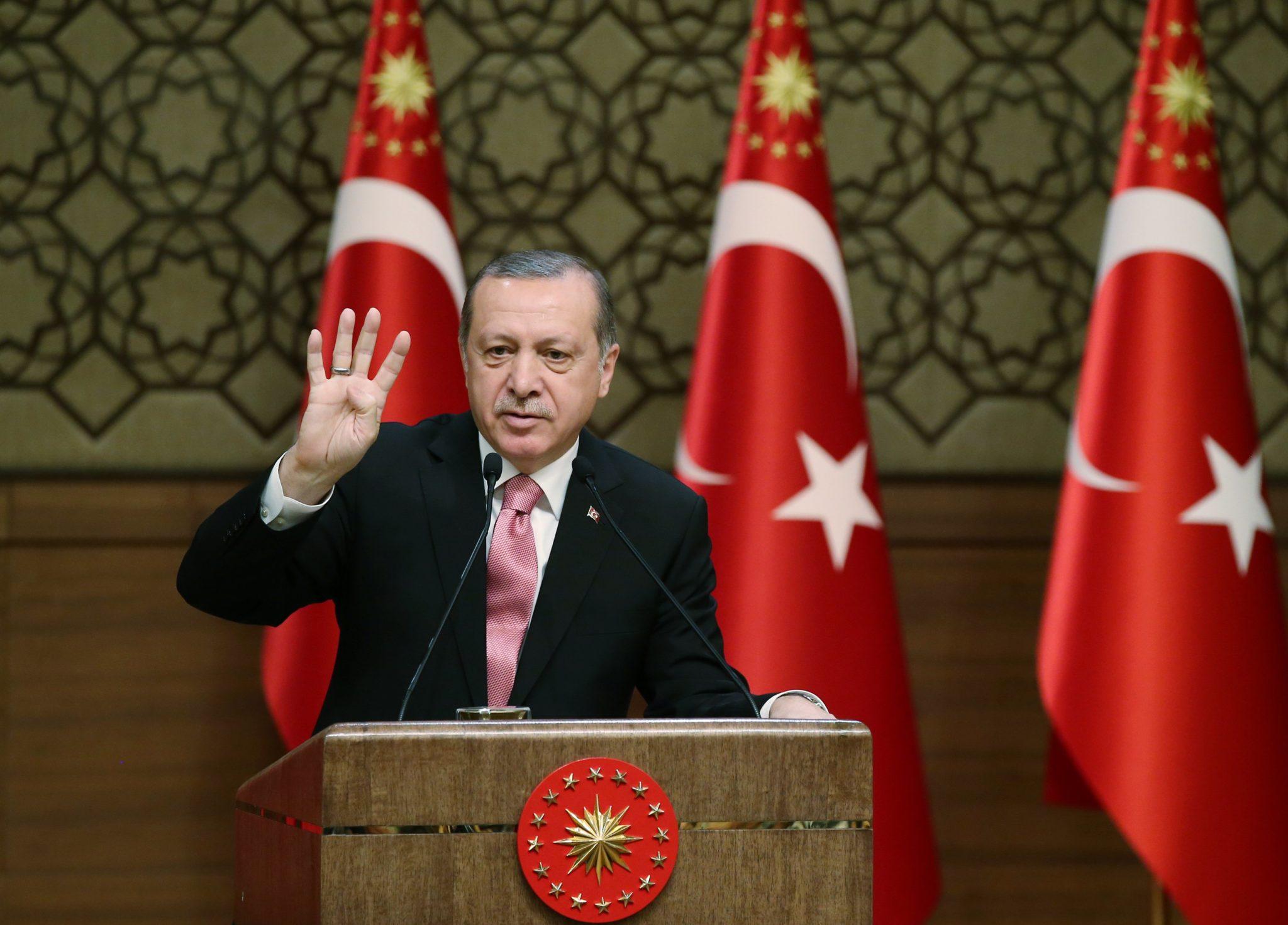 Turcja: przemówienie prezydenta Turcji Recepa Erdogana w Ankarze (foto. PAP/EPA/TURKISH PRESIDENT OFFICE)