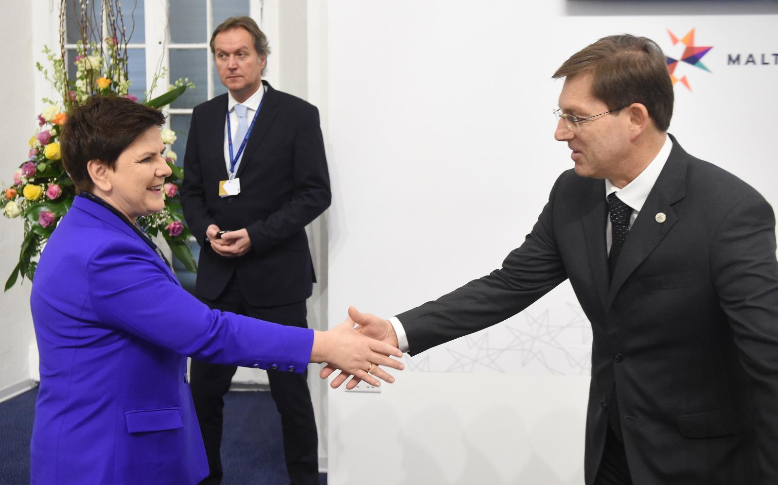 Premier Beata Szydło oraz premier Słowenii Miro Cerar podczas nieformalnego szczytu Rady Europejskiej w Valletcie na Malcie. Fot. PAP/Radek Pietruszka