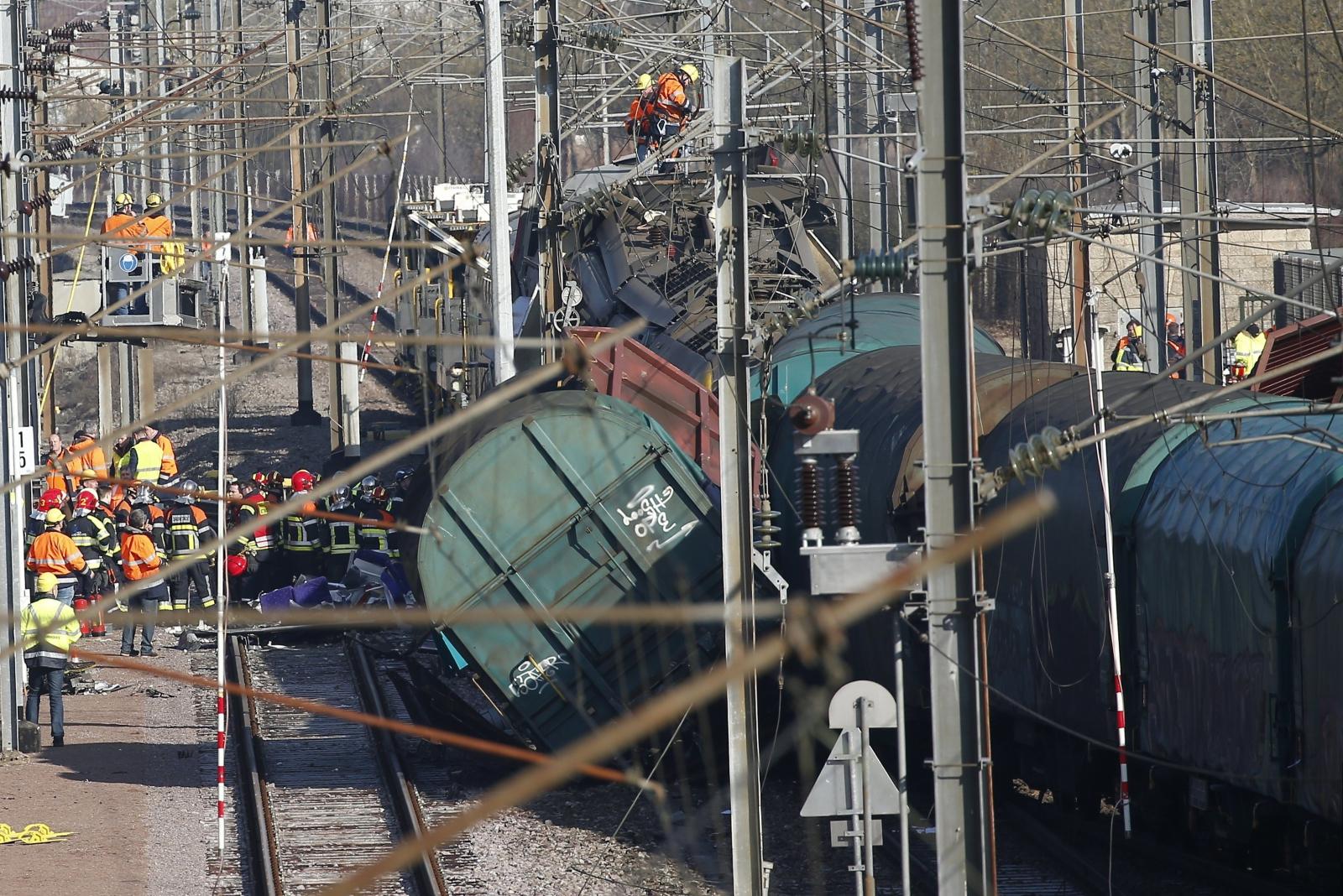 Kolizja pociągu w  Dudelange, Luxemburg.