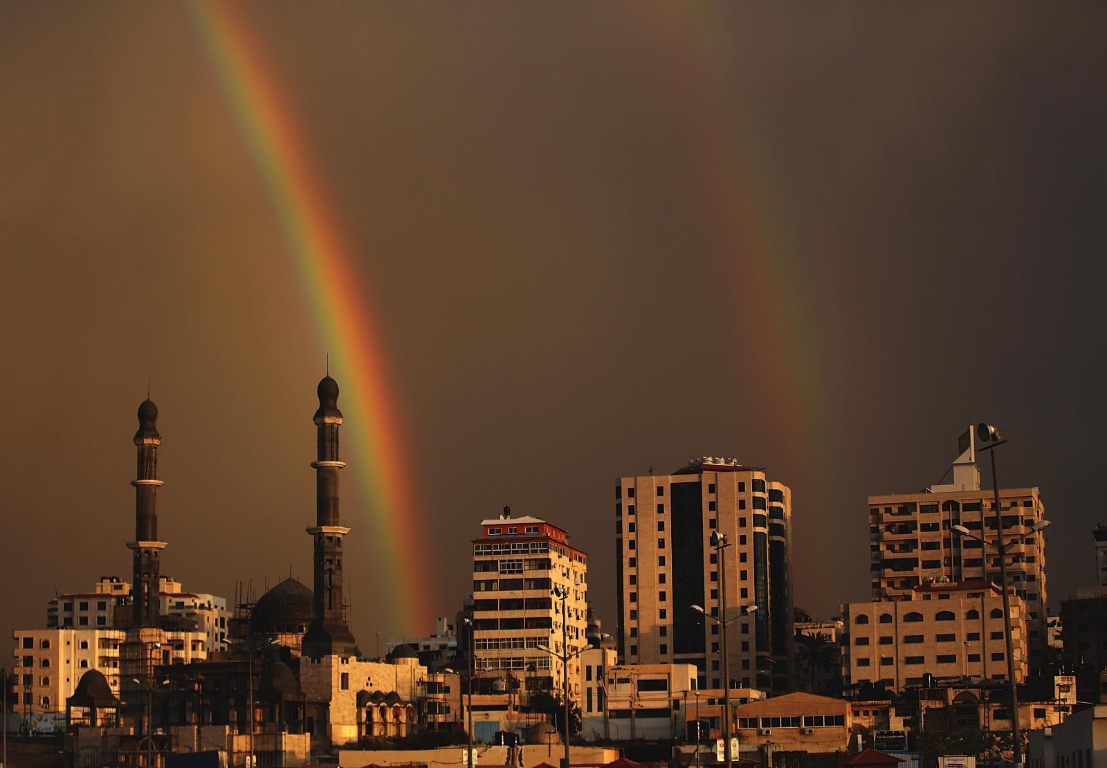 Tęcza widziana w Strefie Gazy.