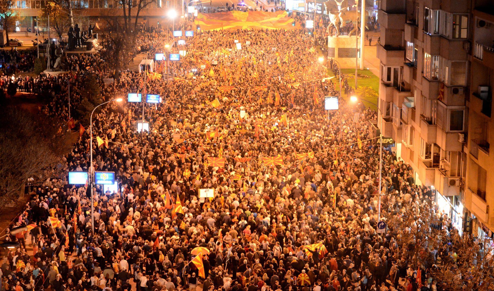 Macedonia: protest przeciwko polityce zagranicznej w Skopje (foto. PAP/EPA/NAKE BATEV)