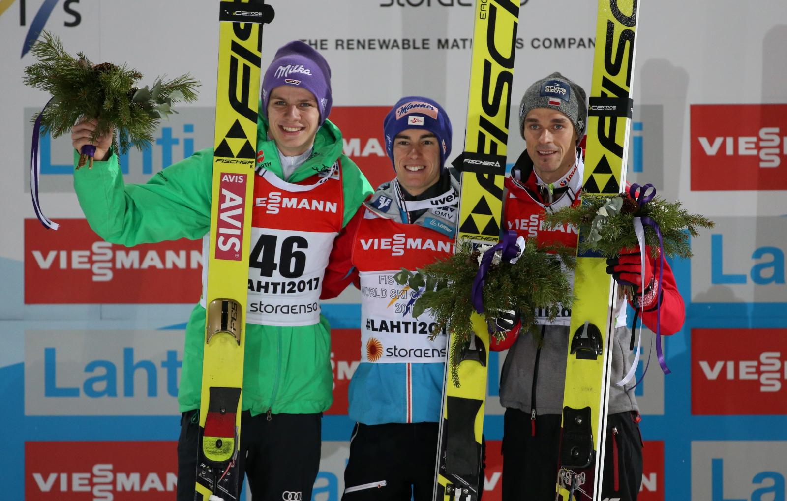 Piotr Żyła brązowym medalistą w konkursie indywidualnym skoków narciarskich w Lahti, Fot. PAP/Grzegorz Momot