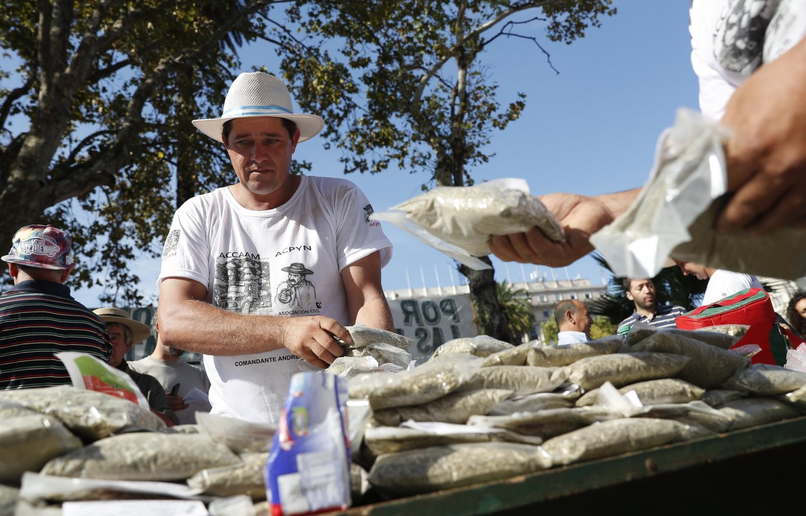 Protest producentów yerba mate w Argentynie. Fot. PAP/EPA/DAVID FERNANDEZ