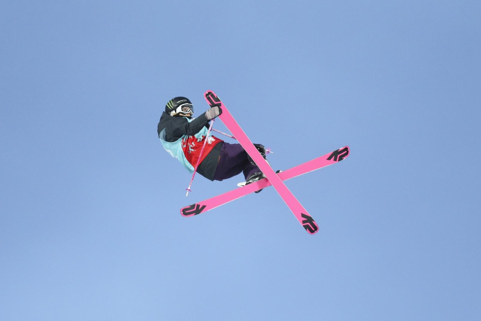 Brązowa medalistka Maggie Voisin w trakcie zawodów w stylu dowolnym.