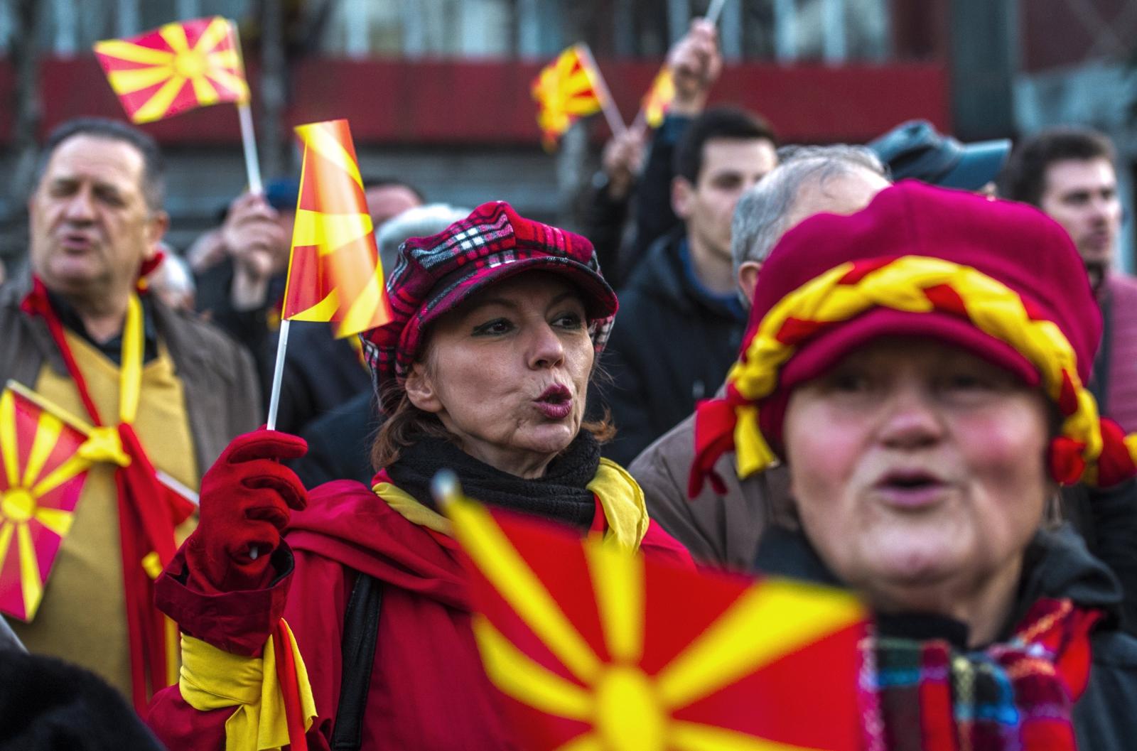 Inicjatywa społeczna dla Zjednoczonej Macedonii w czasie protestu przeciwko możliwym poważnym ustępstwom dla Albańczyków w Skopje, Macedonia.