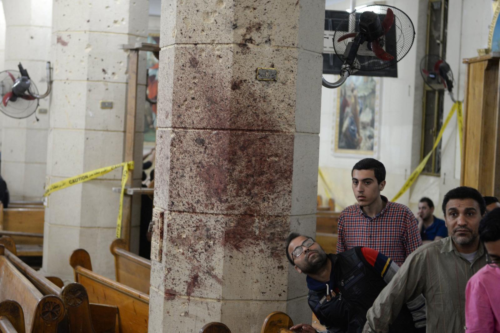 Zamach bombowy w koptyjskim kościele w Tancie, 90 km od Kairu, Egipt.