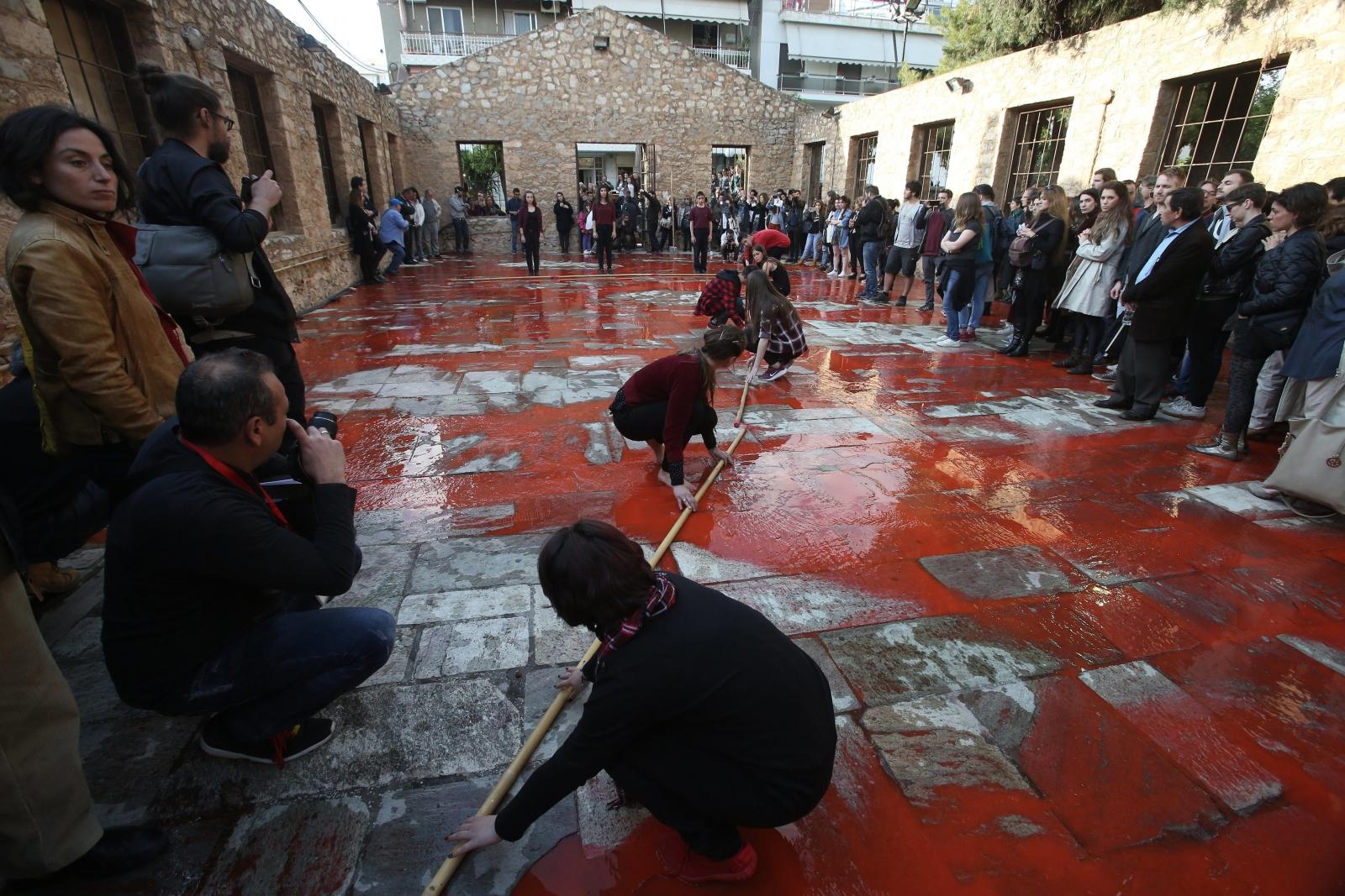 Studencki pokaz artystyczny w Atenach, Grecja.