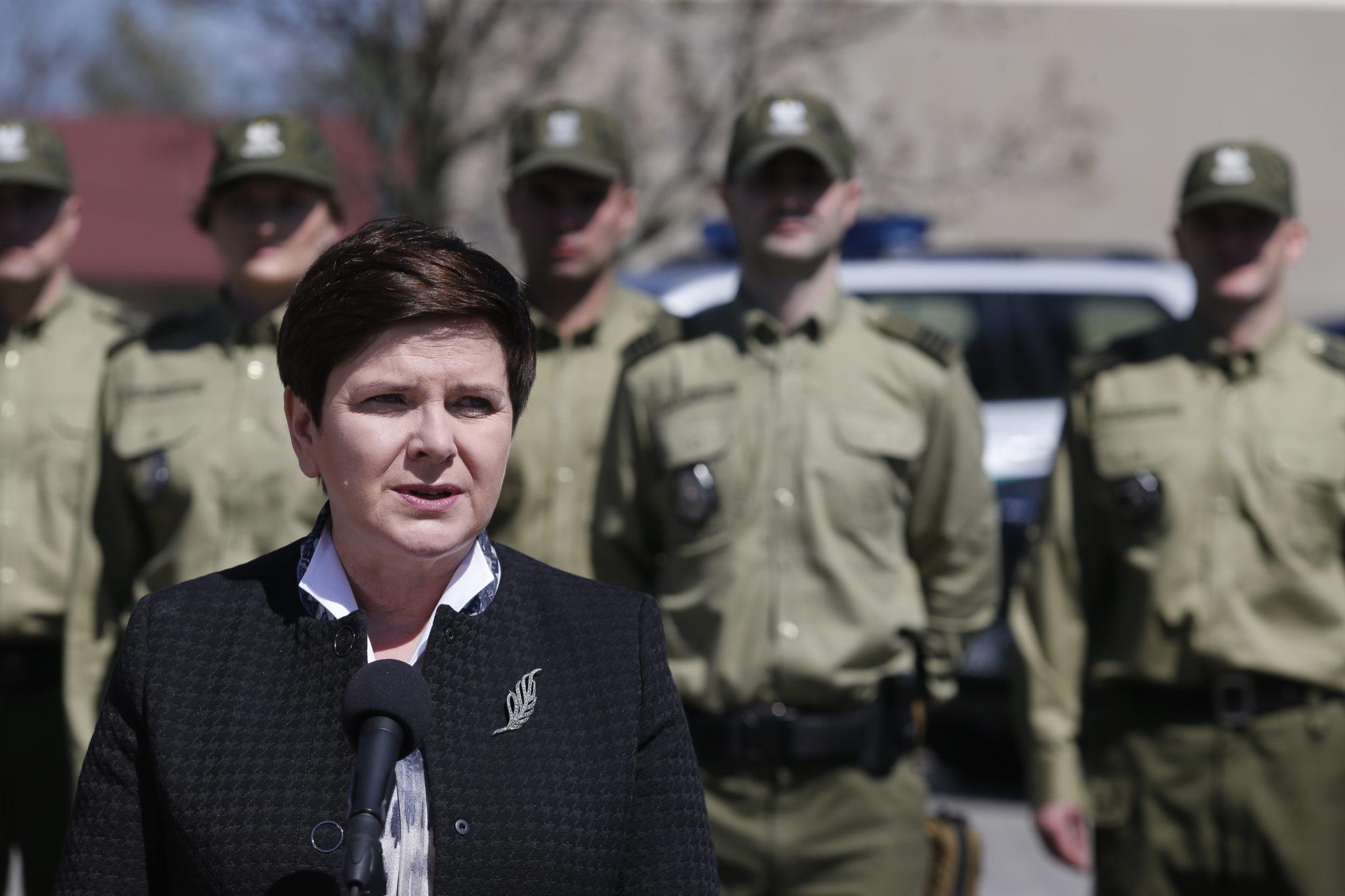 Polska: wizyta premier Beaty Szydło w Bielsko-bialskim oddziale Straży Granicznej (foto. PAP/Andrzej Grygiel)