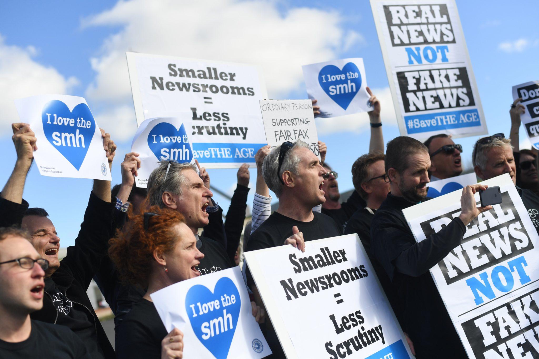 Australia: protest dziennikarzy w Canberze (foto. PAP/EPA/LUKAS COCH)
