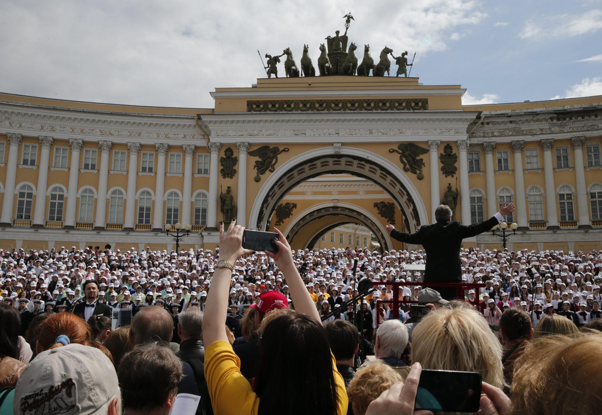 Rosja: koncert chórów łączonych w Sankt Petersburgu (foto. PAP/PA/ANATOLY MALTSEV)