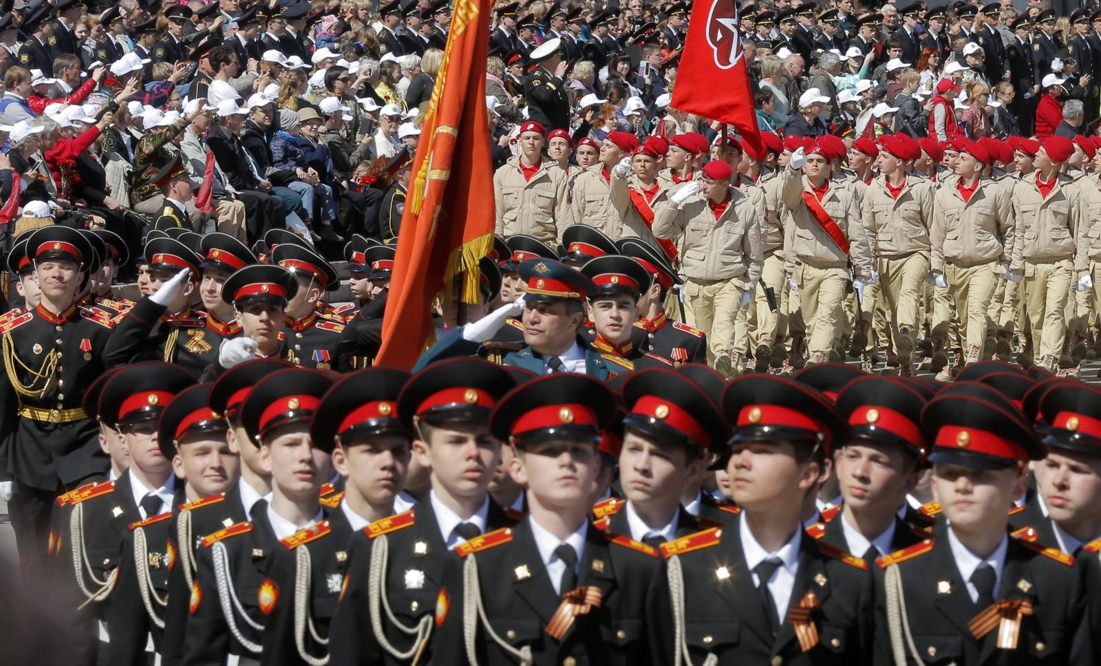 Marsz kadetów upamiętniający zwycięstwo w II wojnie światowej, Moskwa, Rosja.