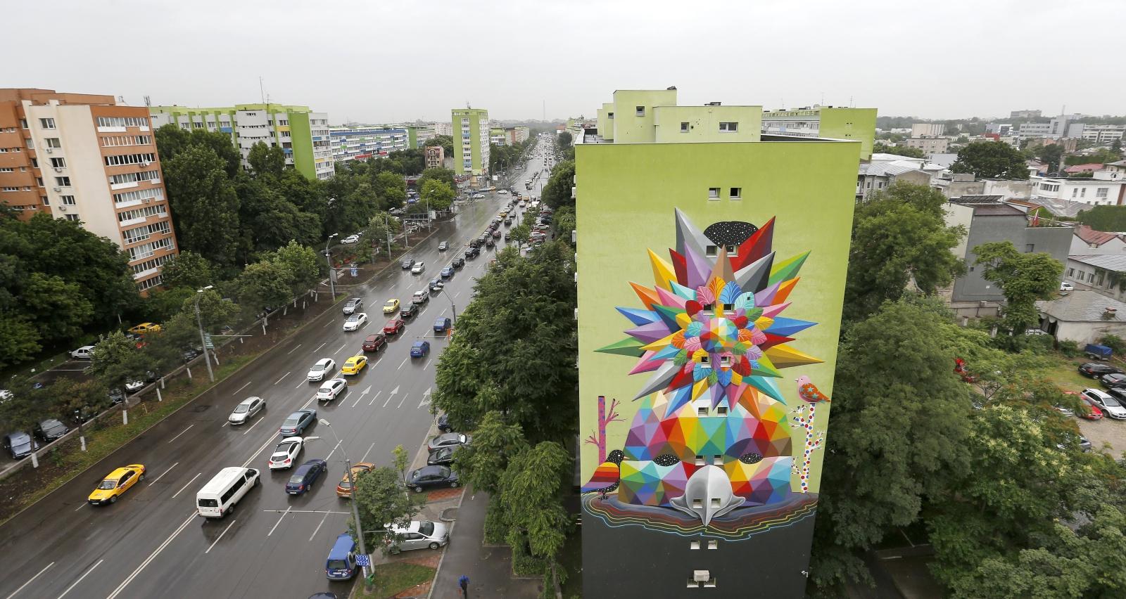 Mural hiszpańskiego artysty w Bukareszcie, Rumunia by Spa