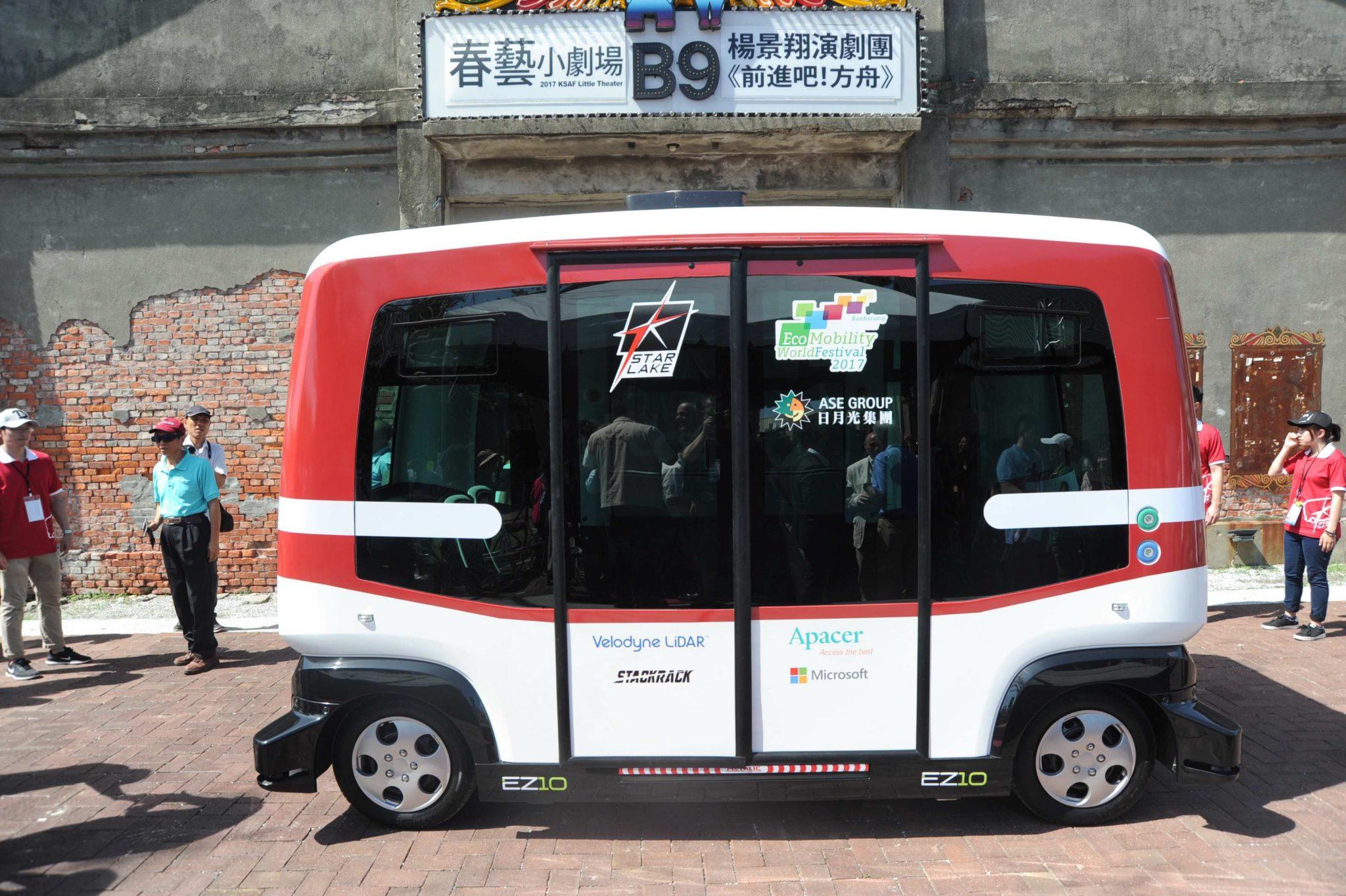 Test bezzałogowego autobusu komunikacji miejskiej w Tajwanie