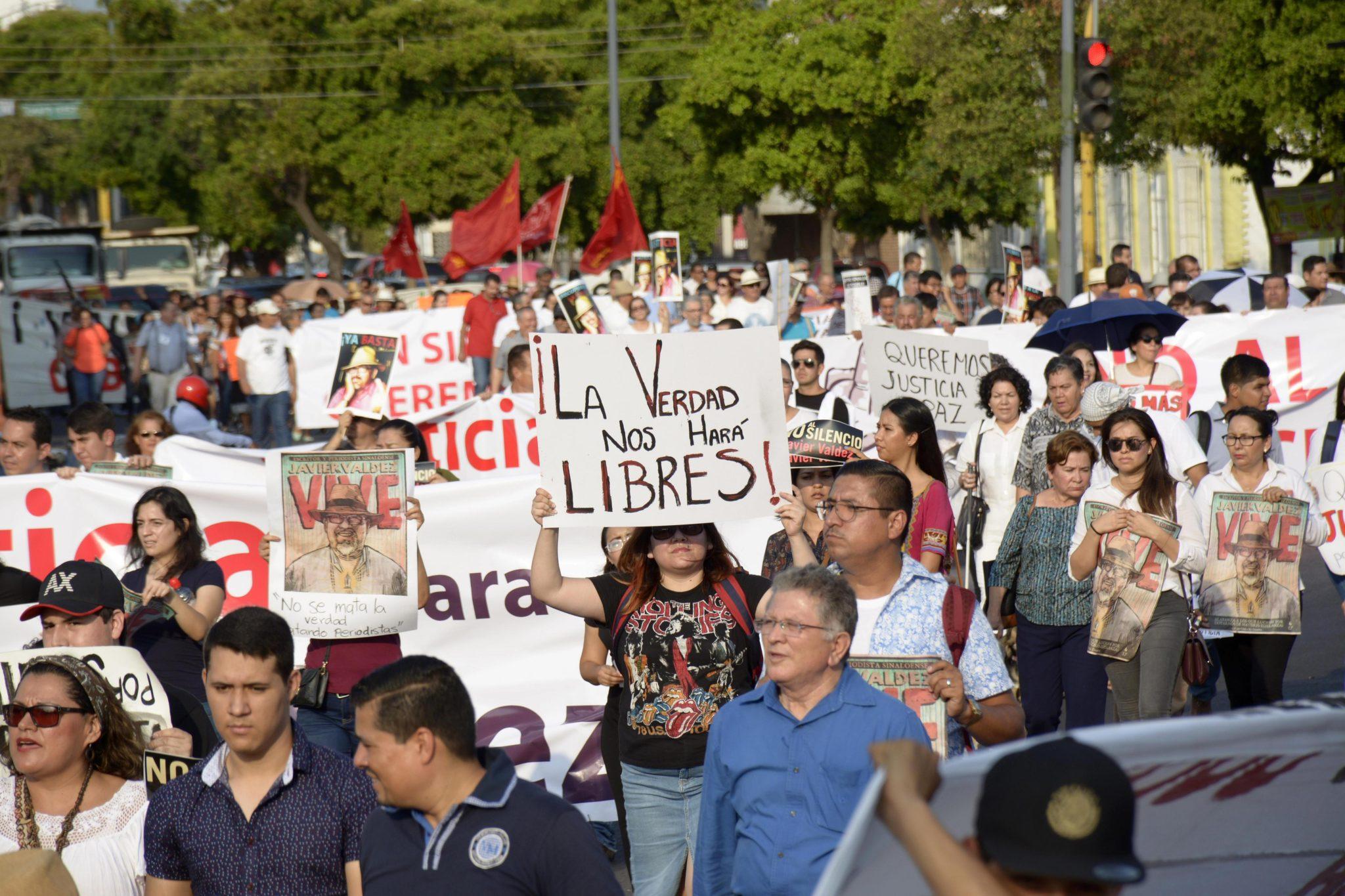 Protest dziennikarzy przeciwko ograniczeniom wolności słowa w Meksyku