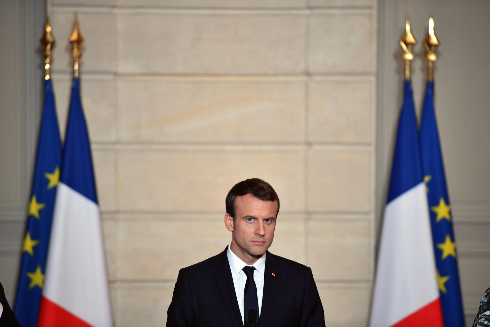 Prezydent Emmanuel Macron. fot. EPA/CHRISTOPHE PETIT TESSON