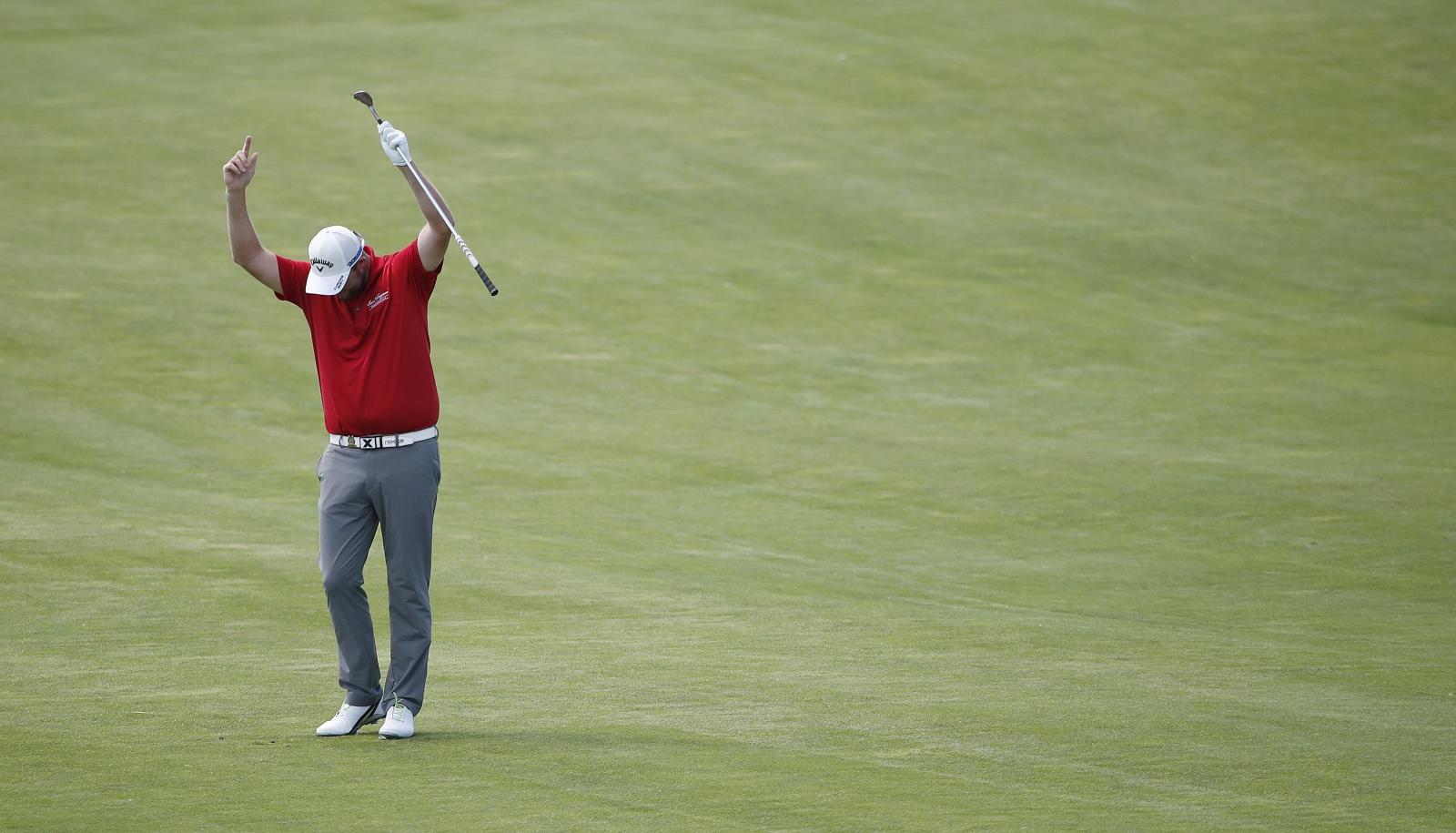 Australijczyk Marc Leishman w czasie 117-go turnieju golfowego US Open.