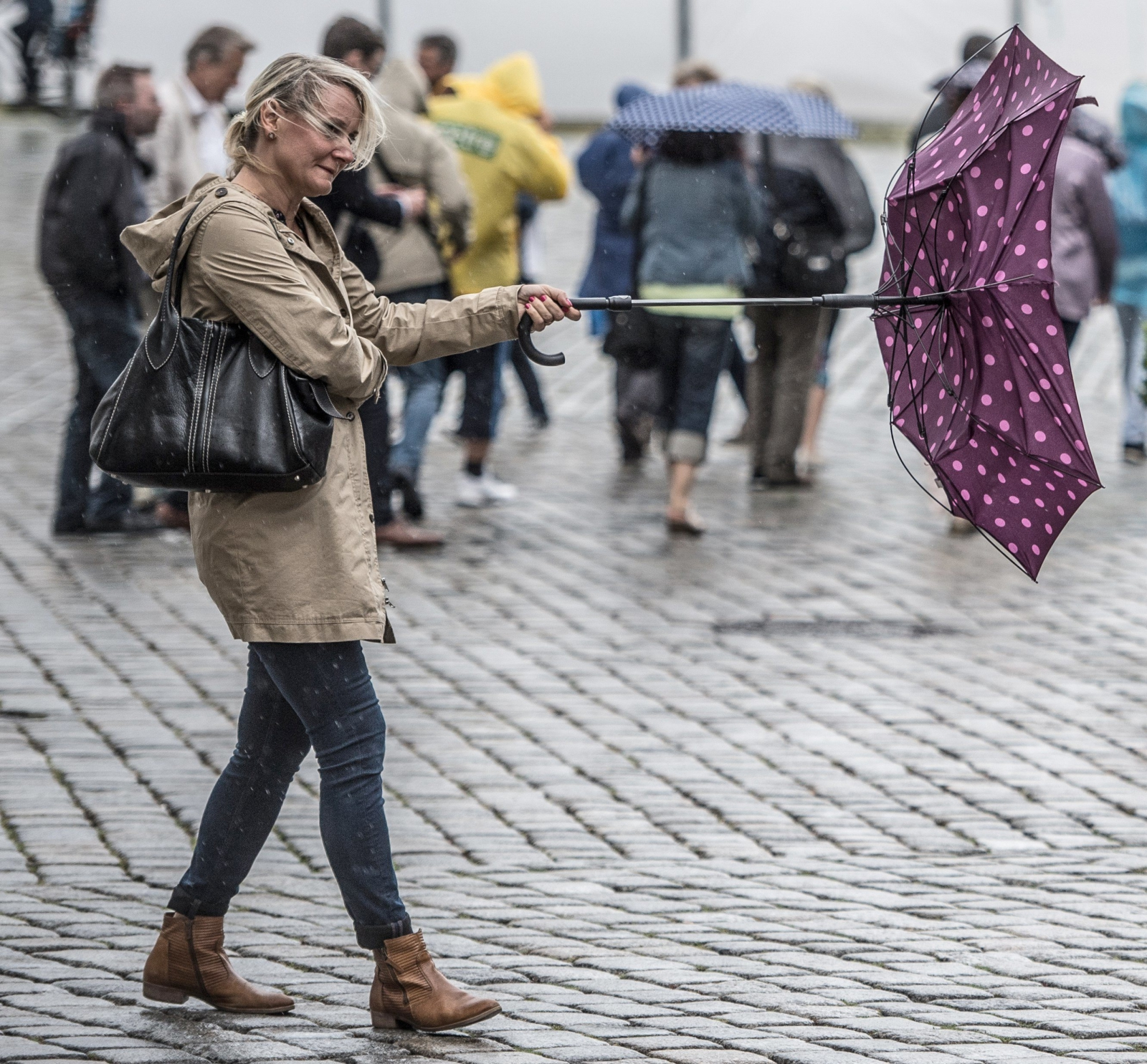 Pogoda dla Niemców nie jest tak łaskawa jak dla Hiszpanów, Drezno, Niemcy.