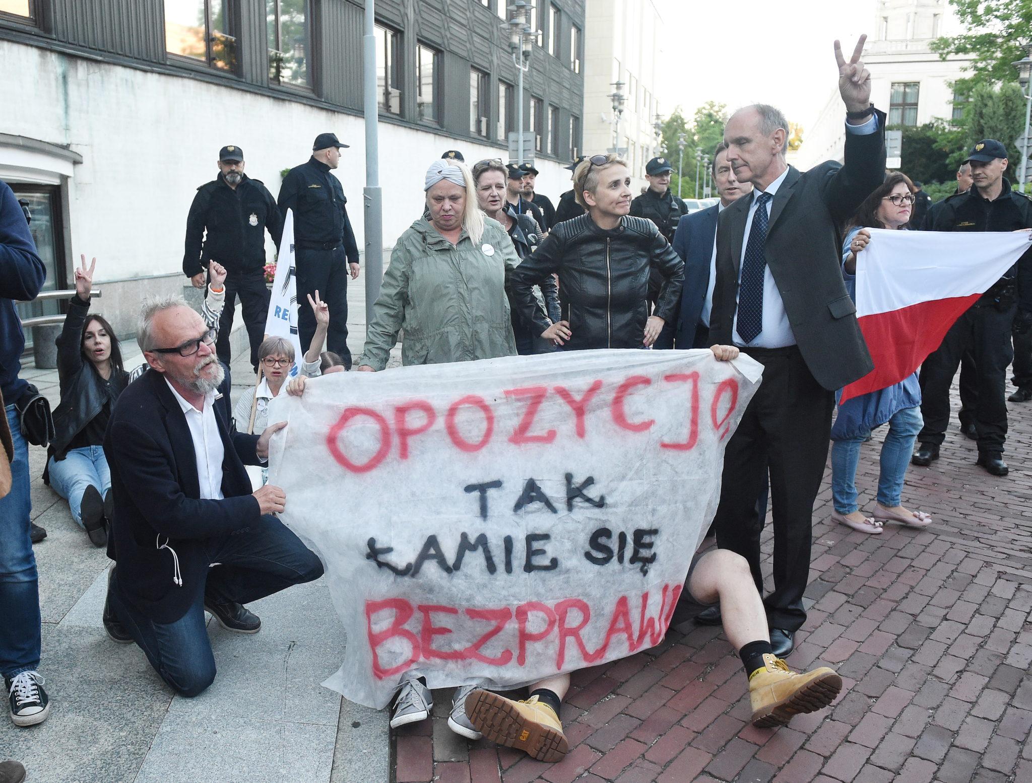 Warszawa, Senator PO Bogdan Klich i posłanka Nowoczesnej Joanna Scheuring-Wielgus z pikietującymi przed Sejmem, protest przeciwko zmianom w sądach PAP/Radek Pietruszka