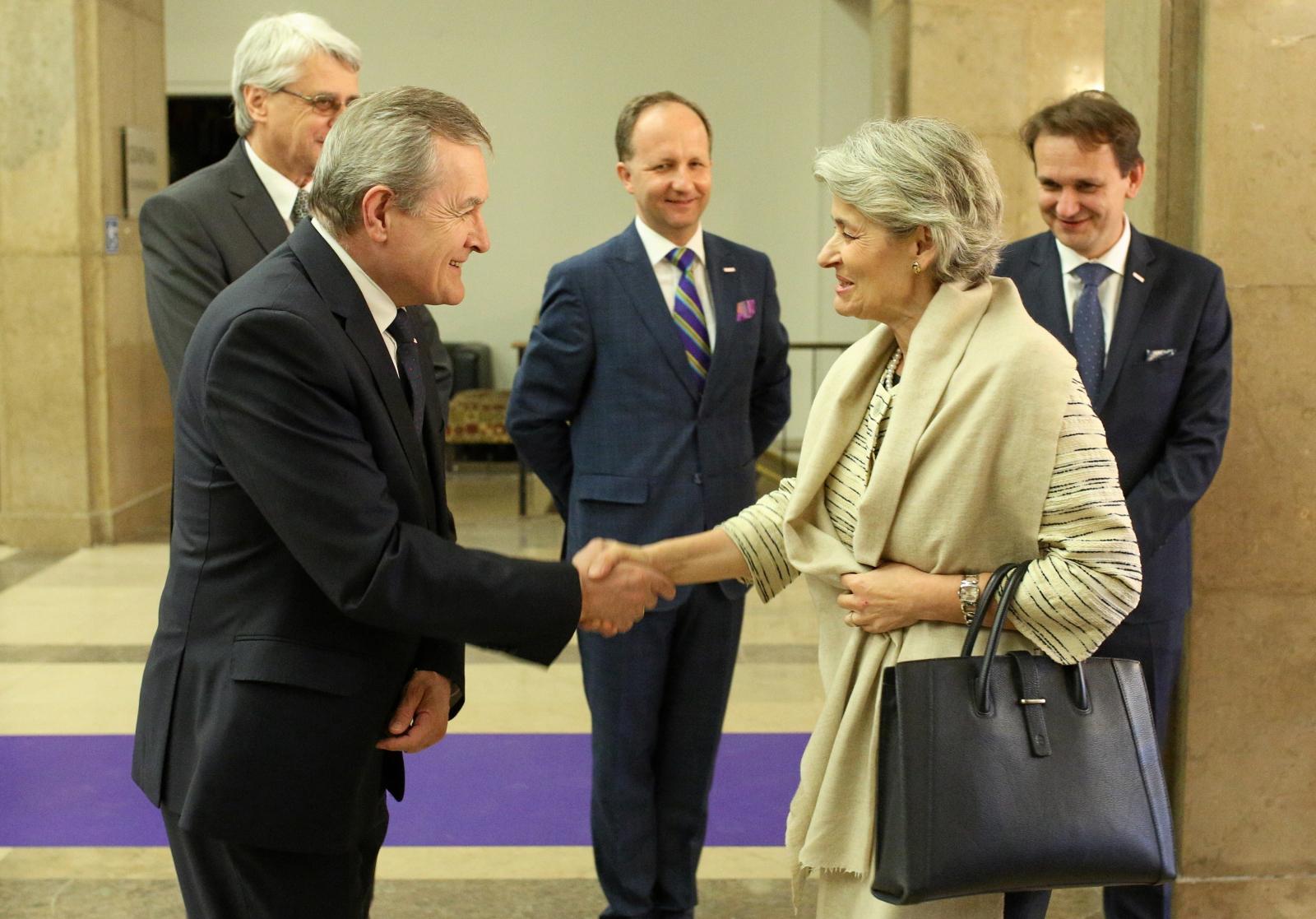 Dyrektor generalna UNESCO Irina Bokova oraz wicepremier Piotr Gliński w Krakowie