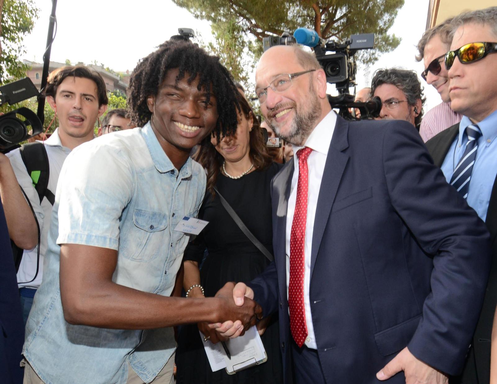 Martin Schulz podczas wizyty we Włoszech