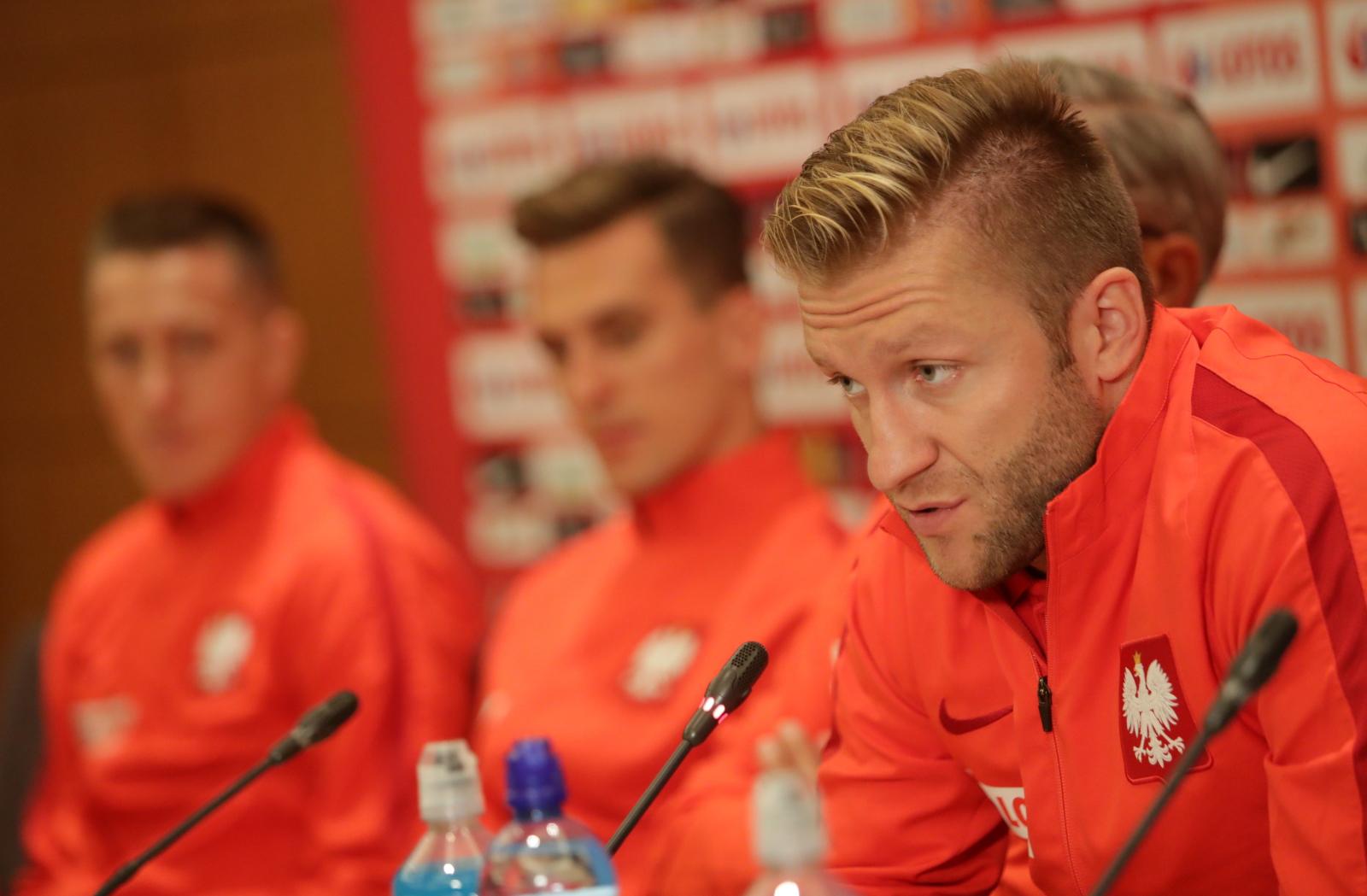 Kopenhaga, Dania,  Jakub Błaszczykowski podczas konferencji prasowej, PAP/Bartłomiej Zborowski