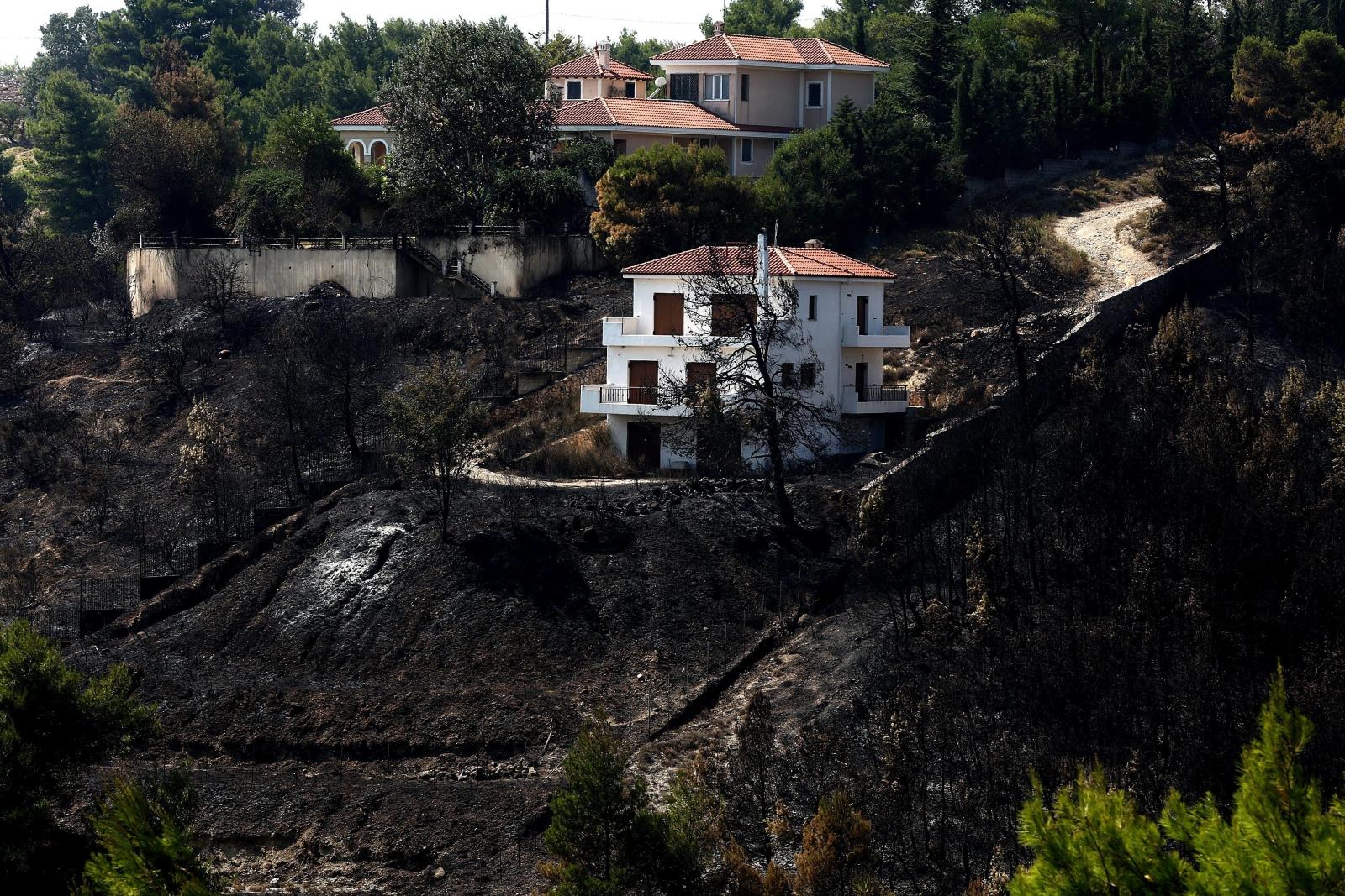 W Grecji trwają wielkie pożary, Ateny, Grecja.