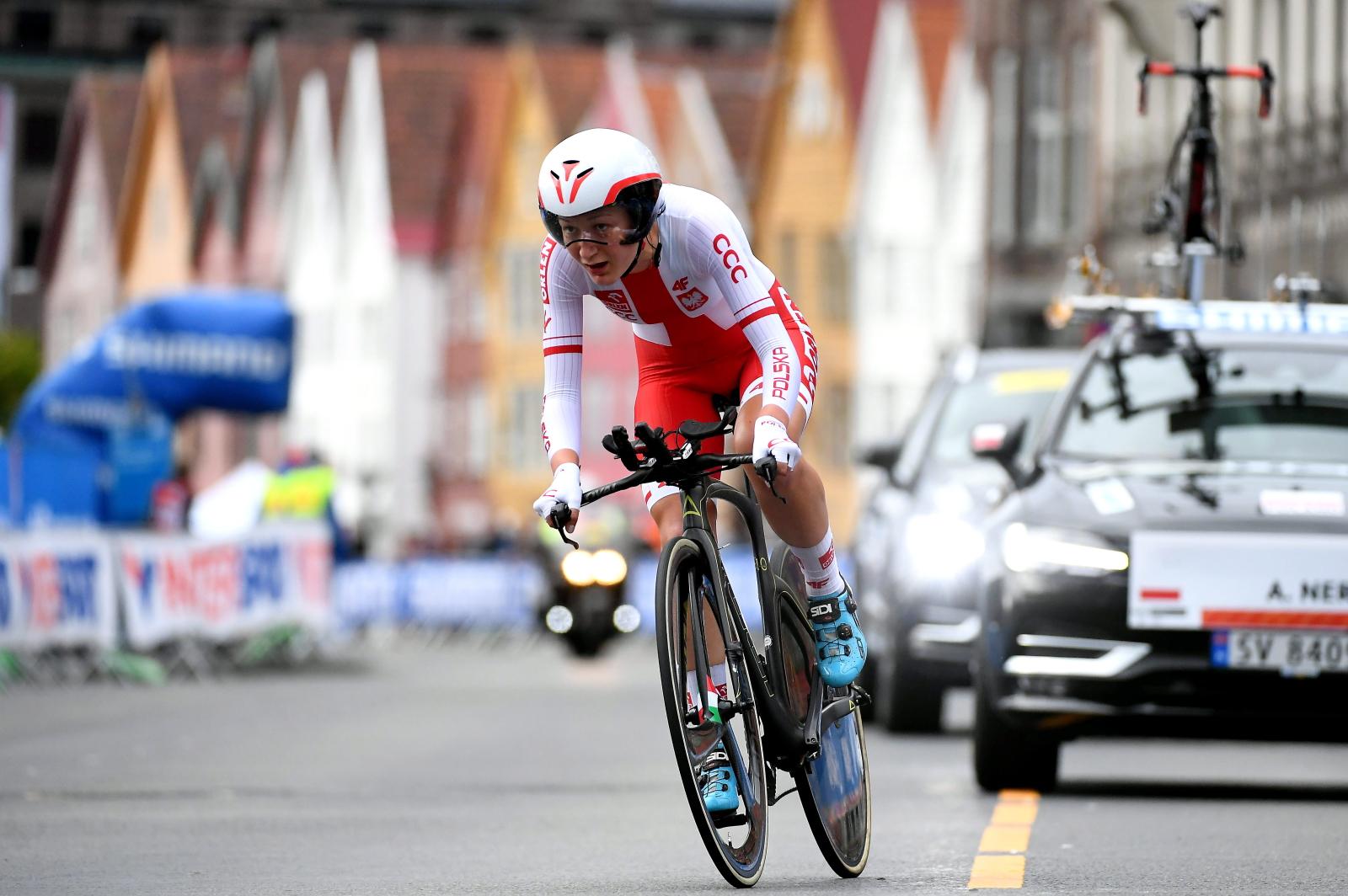 Polka Aurela Nerlo na trasie jazdy indywidualnej na czas podczas kolarskich mistrzostw świata w norweskim Bergen PAP/Bartłomiej Zborowski