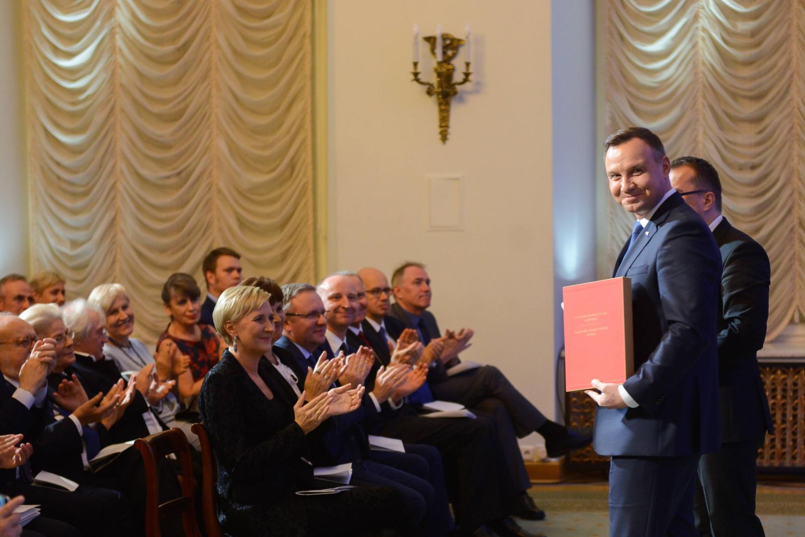 Prezydent Andrzej Duda podczas koncertu w Pałacu Prezydenckim w Warszawie, z okazji Roku Tadeusza Kościuszki.