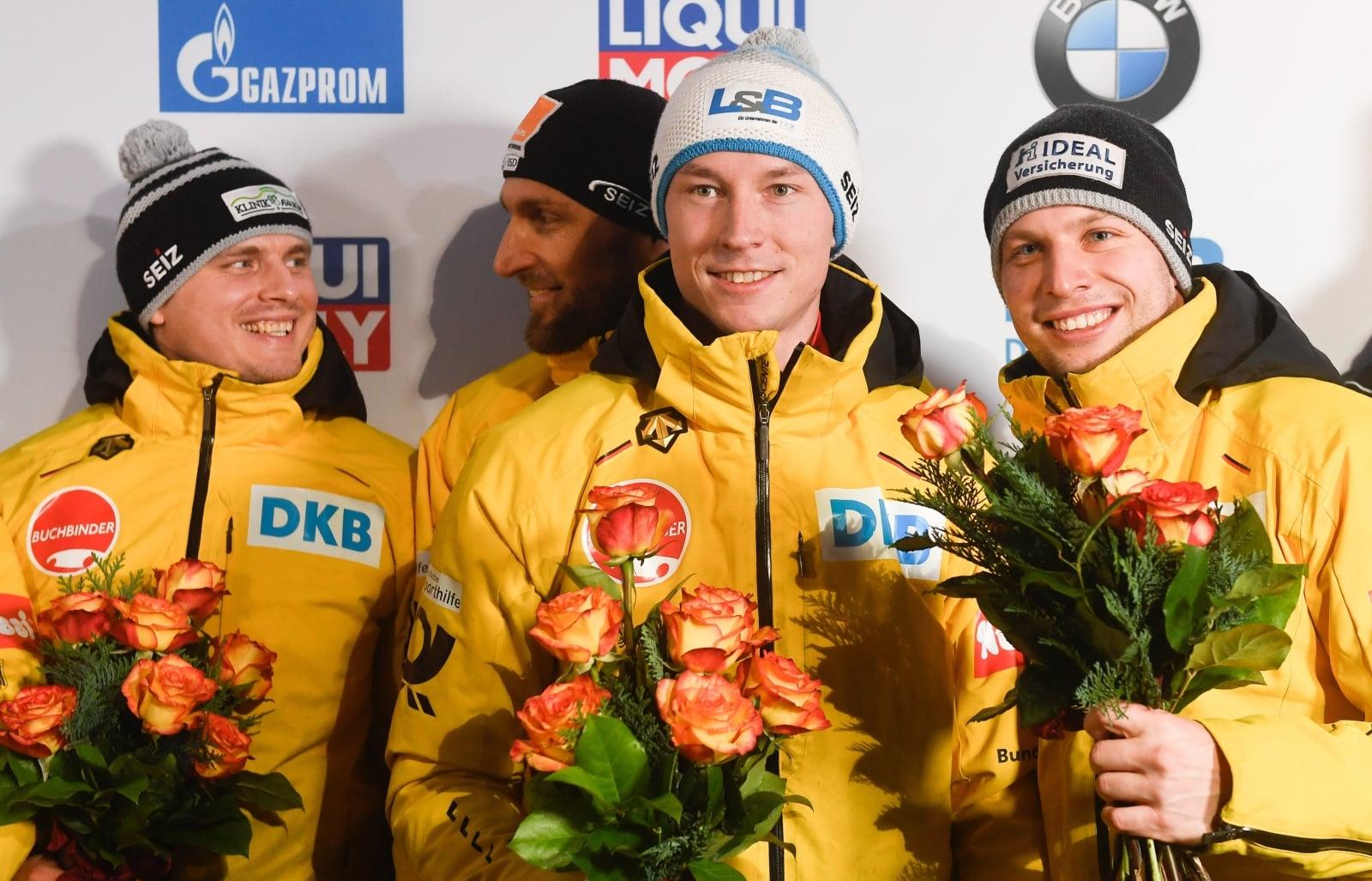Niemiecki skład bobsleja Nico Walther, Kevin Kuske, Christian Poser i Eric Franke wygrał Mistrzostwa Świata w Bobsleju EPA/FILIP SINGER