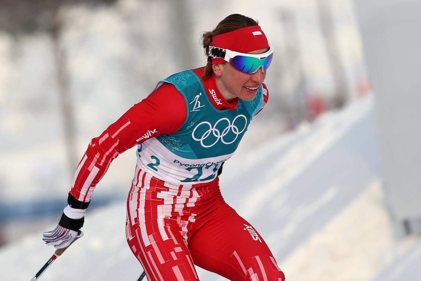 Polka Justyna Kowalczyk podczas narciarskiego biegu łączonego (7,5 km techniką klasyczną + 7,5 km techniką dowolną) w Pjongczangu, Korea Południowa.