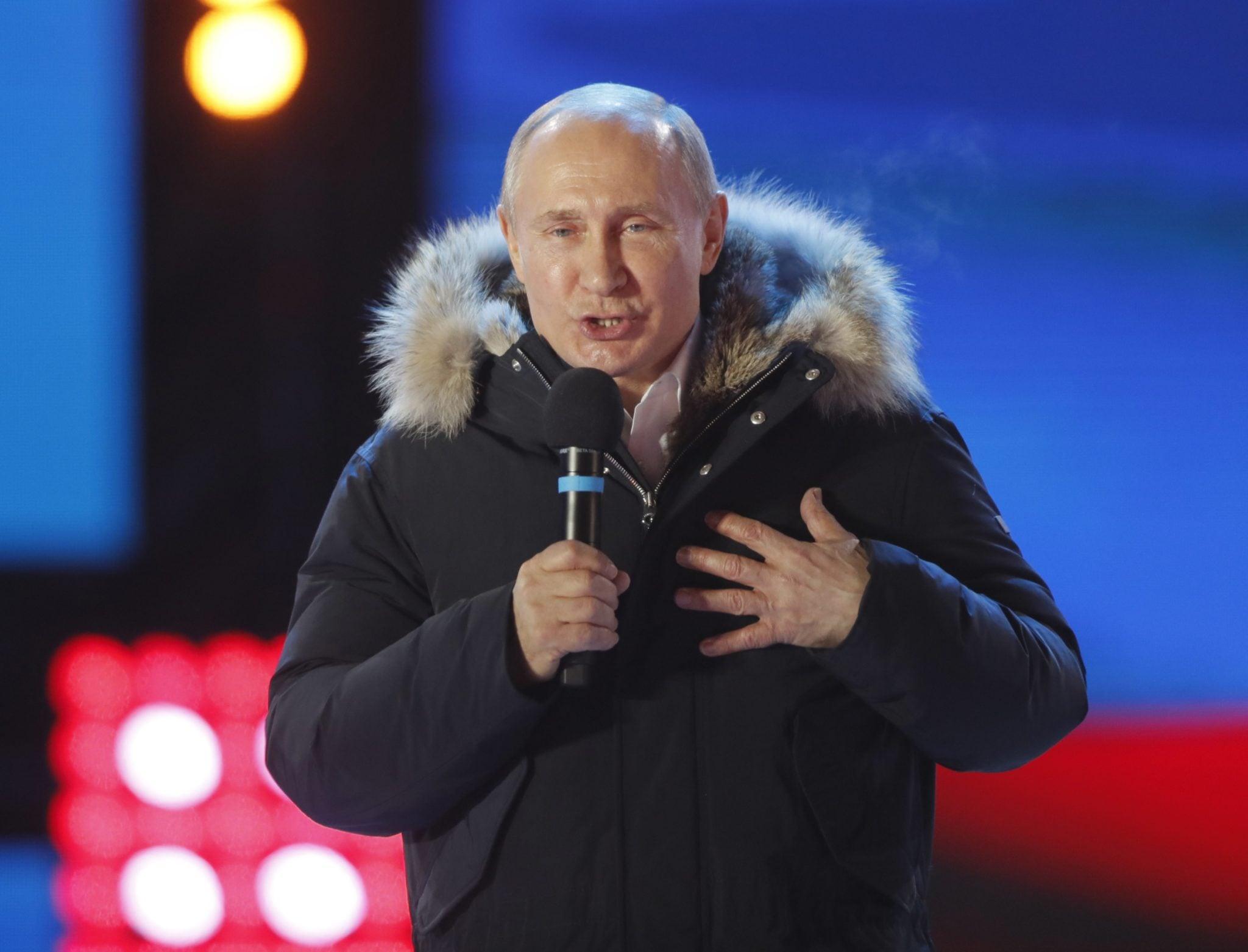 Rosja: wybory prezydenckie, Putin wybrany na 4. kadencję, fot: Yuri Kochetkov, PAP/EPA