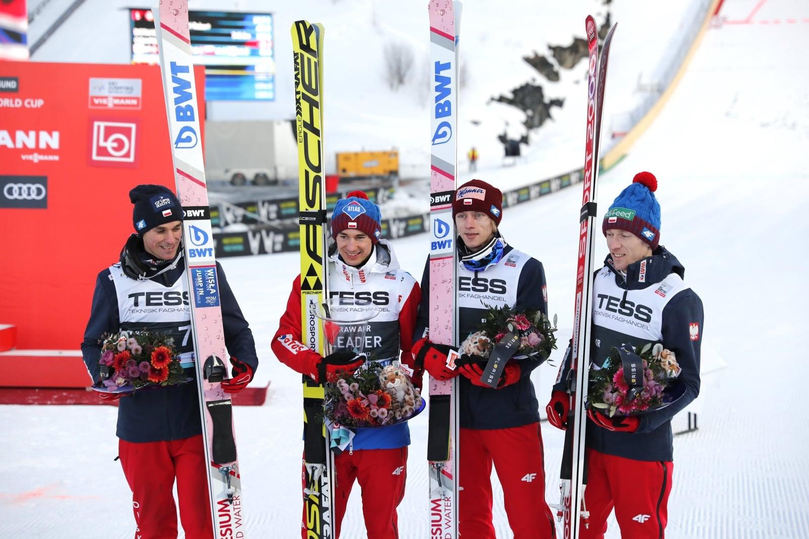 Polska reprezentacja zajęła dzisiaj 2. miejsce w drużynowym konkursie skoków narciarskich fo.t EPA/Terje Bendiksby