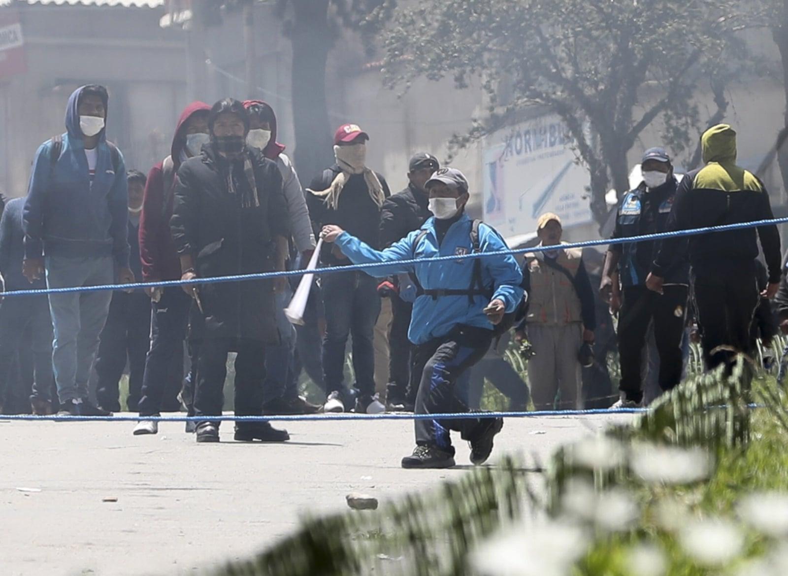 Protest w Boliwii fot. EPA/MARTIN ALIPAZ