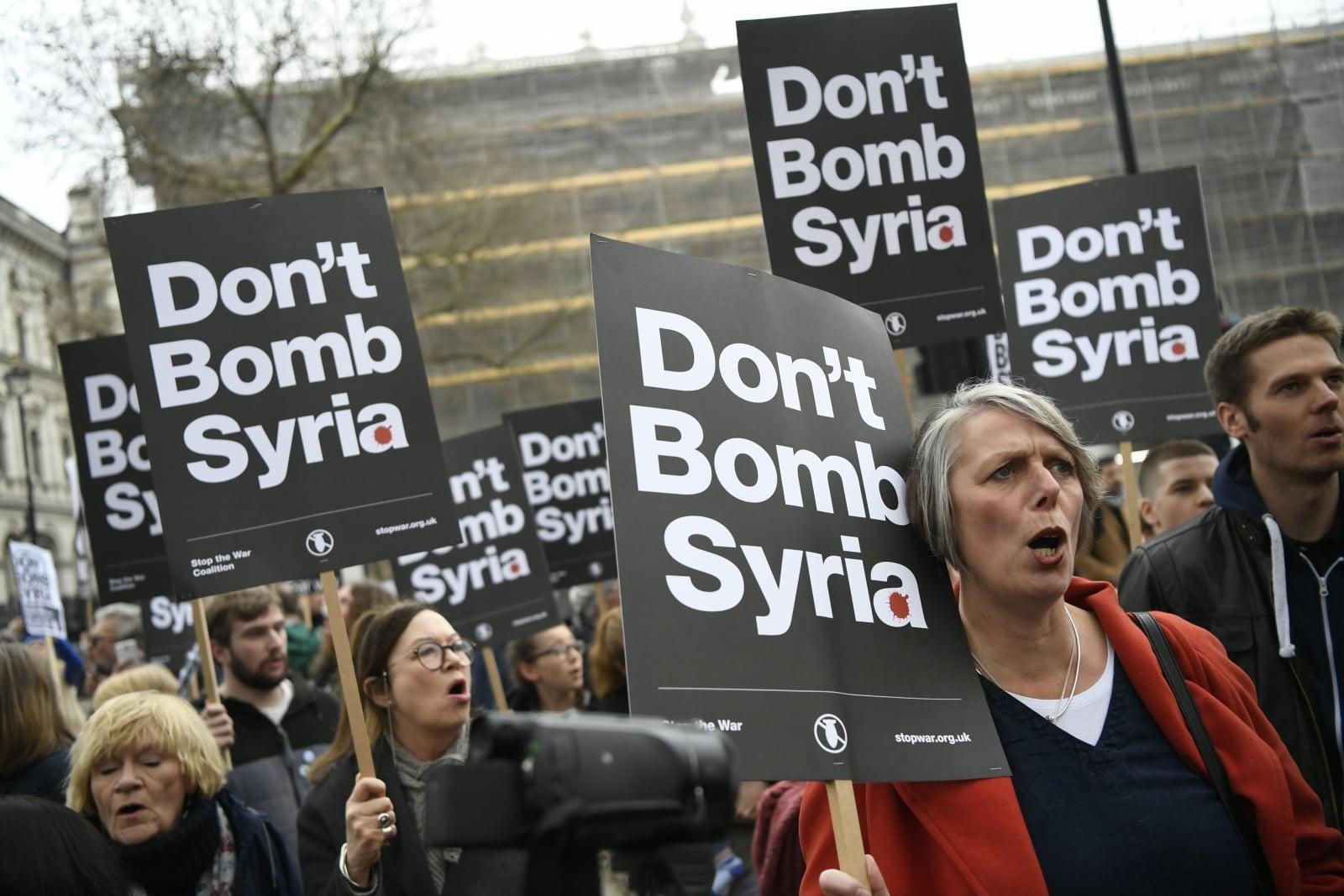 Protesty przeciwko działaniom wojennym w Syrii, Londyn