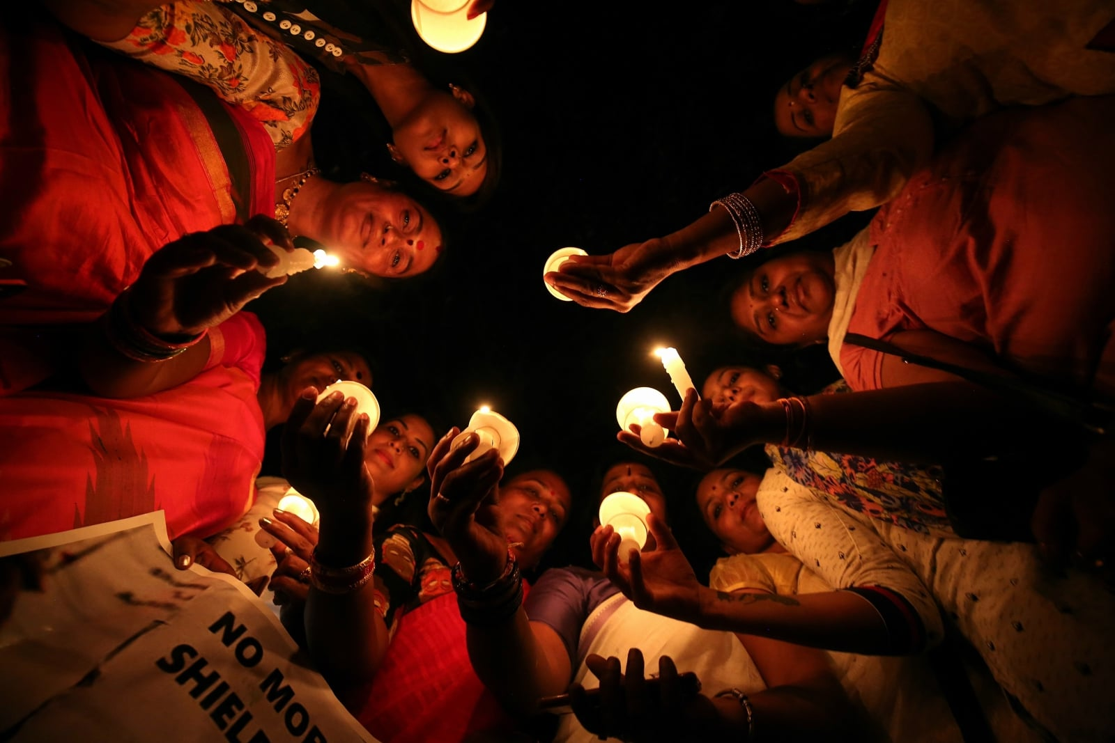 Protest w Indiach fot. EPA/JAGADEESH NV