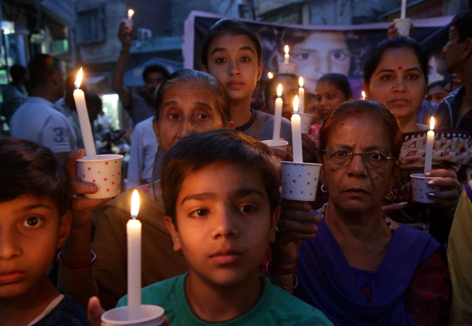 Protest dzieci w Indiach fot. EPA/JAIPAL SINGH